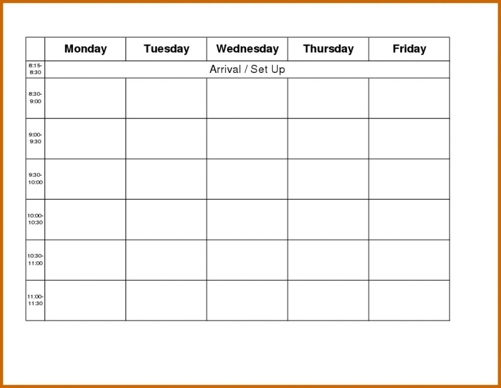 Printable Weekly R Monday Through Friday Template Blank Free To throughout Monday Through Friday Blank Calendar Template
