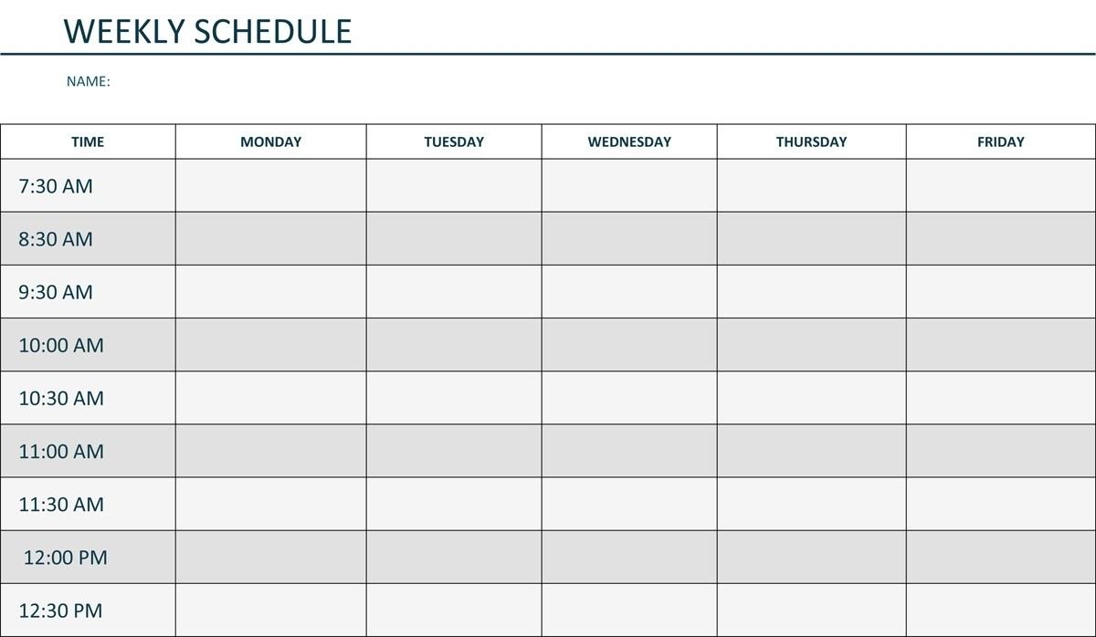 Printable Weekly Schedule Monday Through Friday | Template Calendar throughout Monday Through Friday Blank Calendar Printable