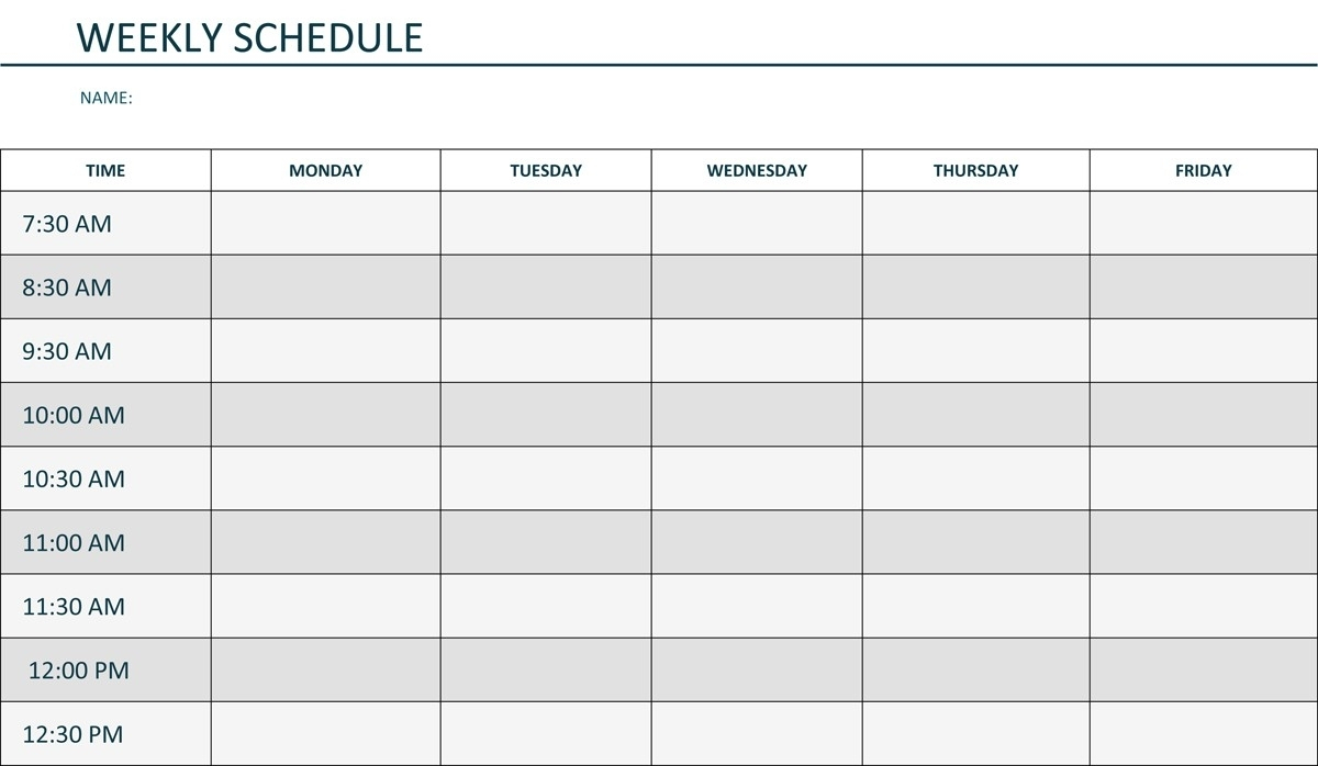 Printable Weekly Schedule Monday Through Friday | Template Calendar with Weekly Blank Calendar Monday Through Friday