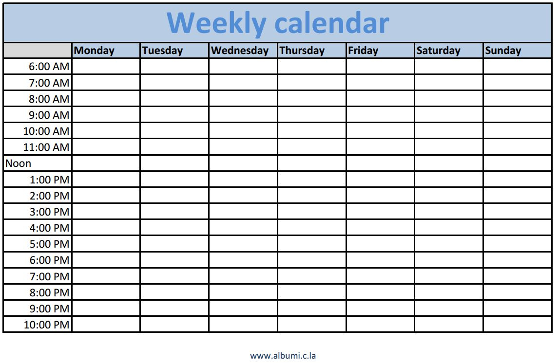 Printable Weekly Schedule With Times - Infer.ifreezer.co regarding Printable Work Week Calendar Template