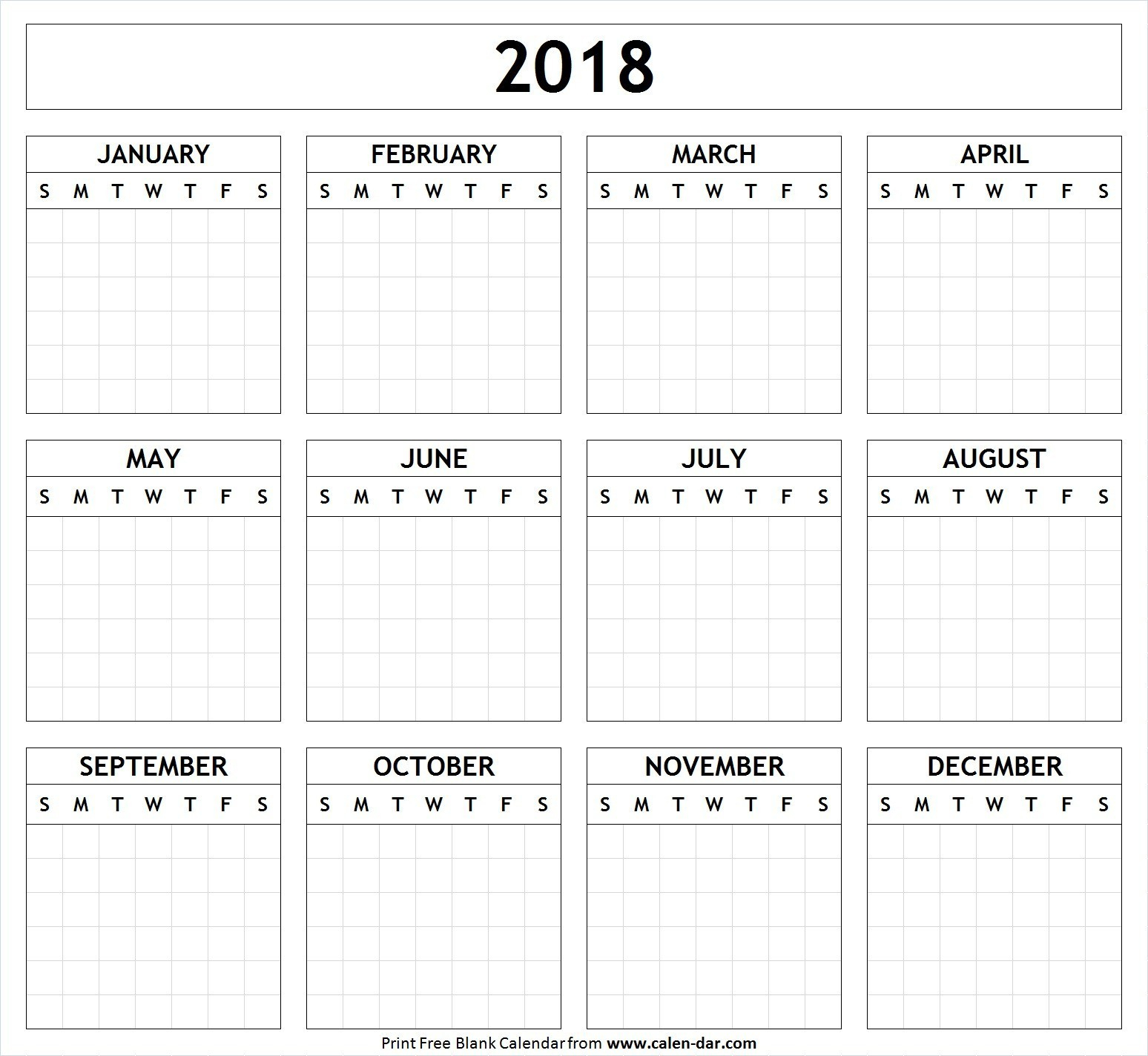 Printable Yearly Calendar 2018 Free Blank Template In For | Thekpark within Blank Printable Calendars Yearly