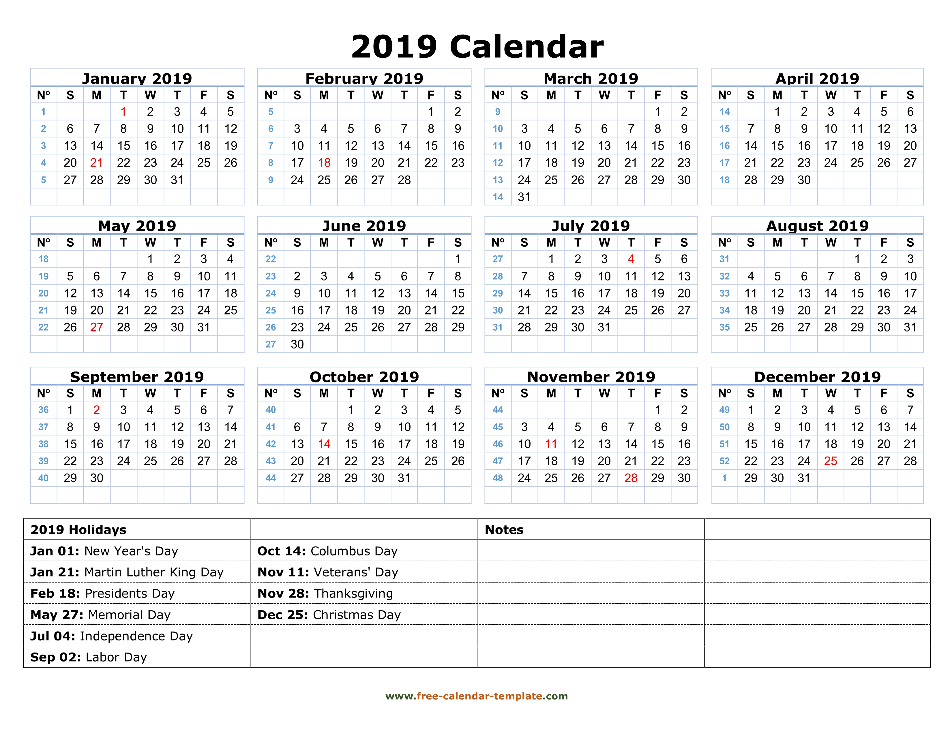 Printable Yearly Calendar 2019 | Free-Calendar-Template regarding Calendar With Holidays Printable Templates