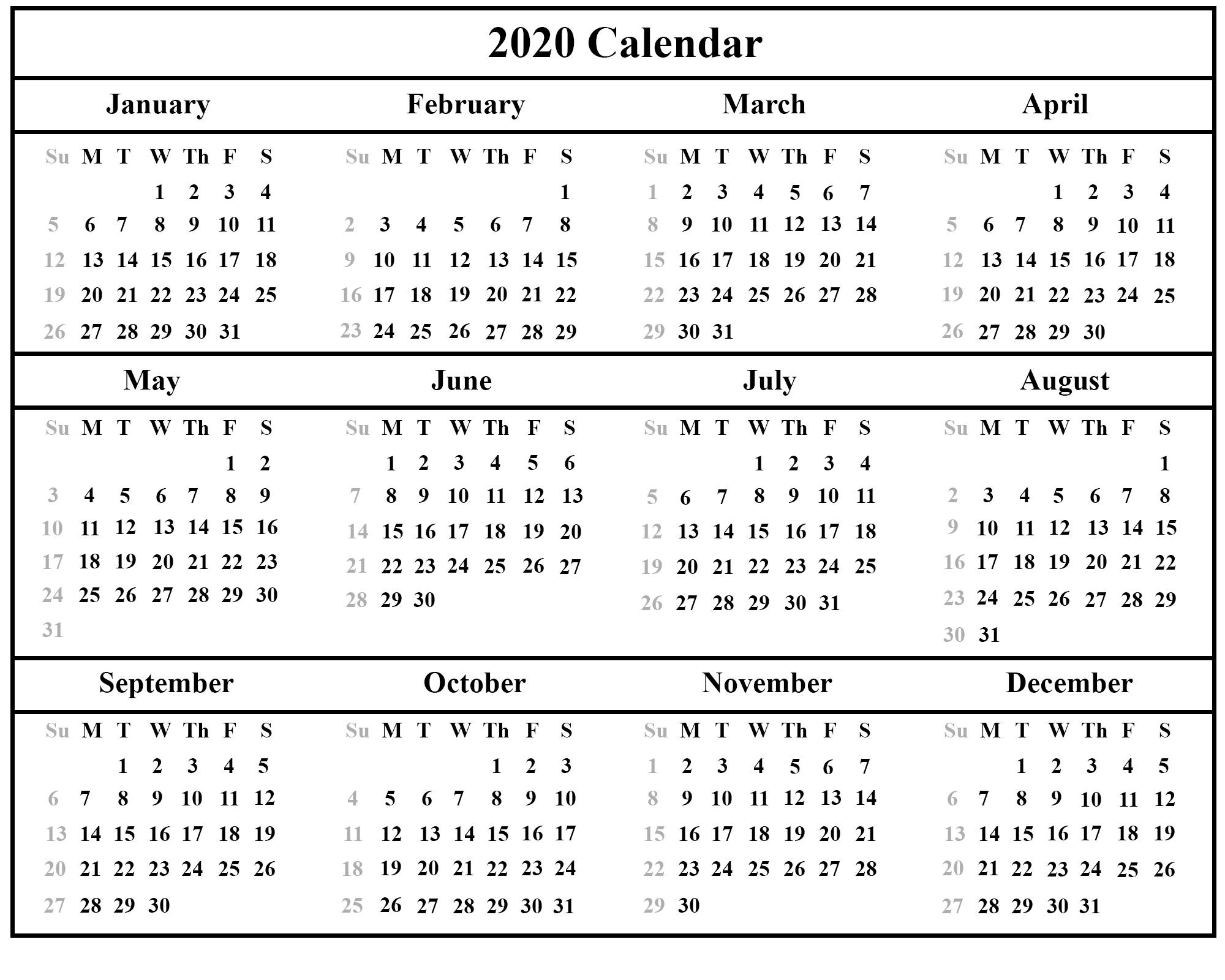 Printable Yearly Calendar 2020 Template With Holidays [Pdf, Word for Printable Year Calendar 2019 - 2020 With Space To Write