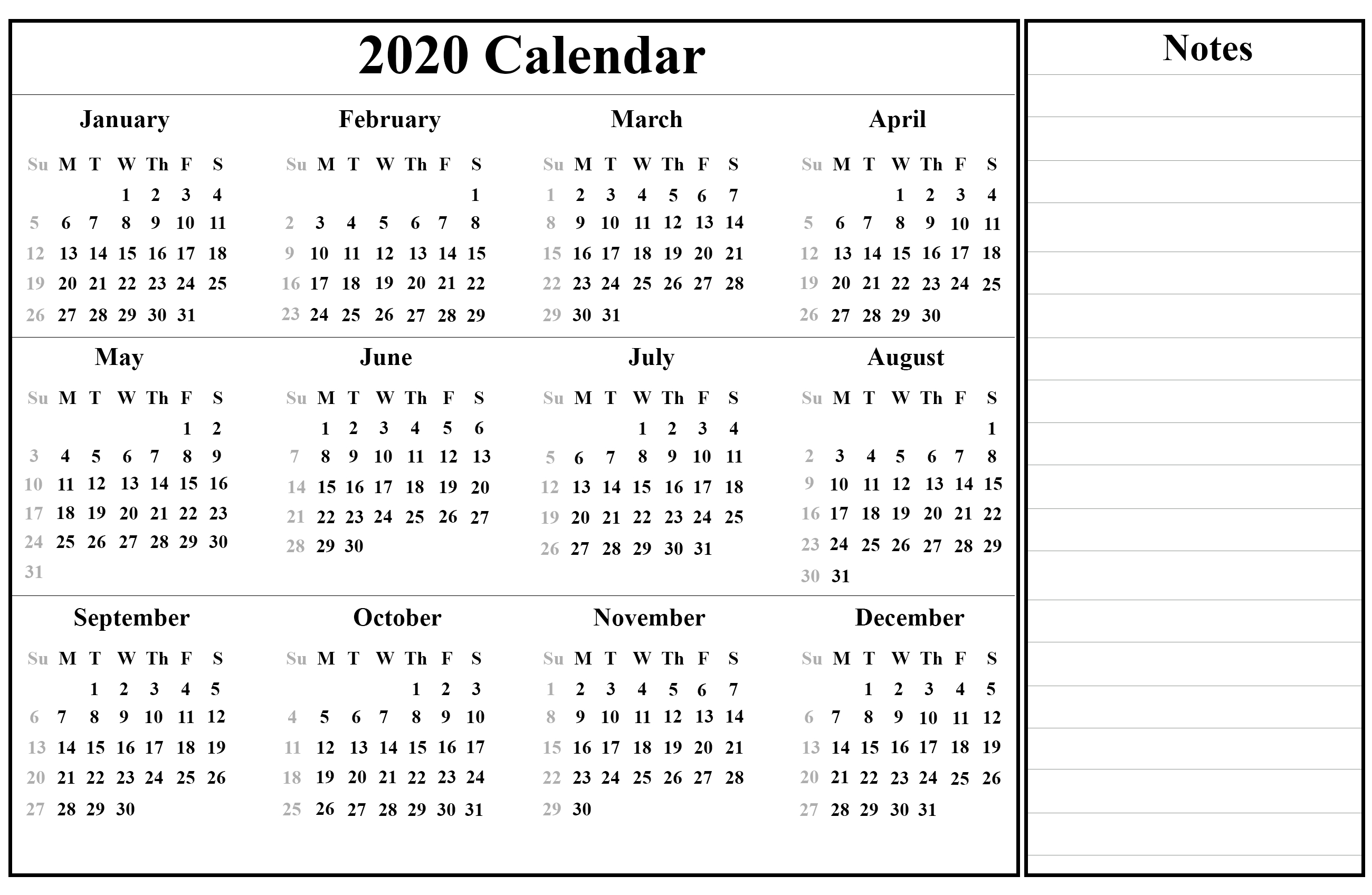 Printable Yearly Calendar 2020 Template With Holidays [Pdf, Word pertaining to Free Printable 2020 Calendar With Space To Write
