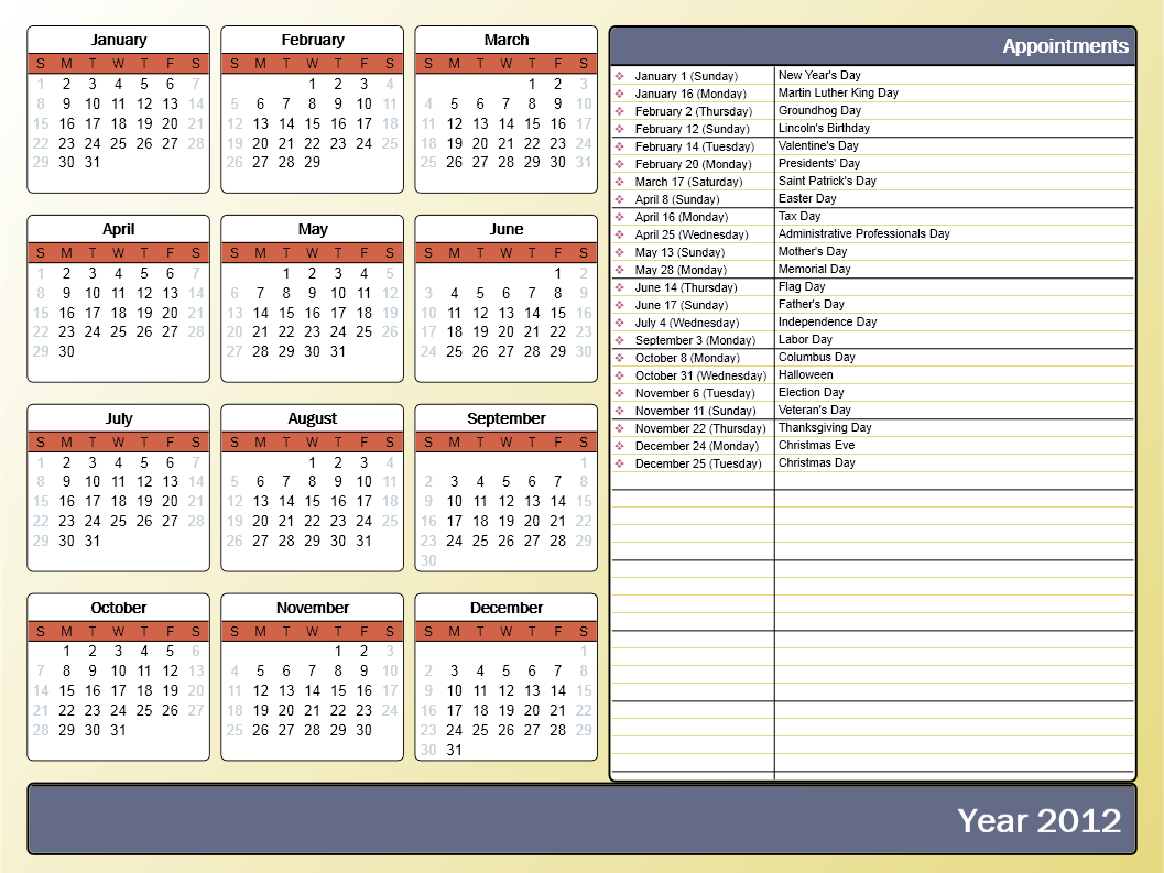 Printing A Yearly Calendar With Holidays And Birthdays - Howto-Outlook inside Calendar With Holidays Templates