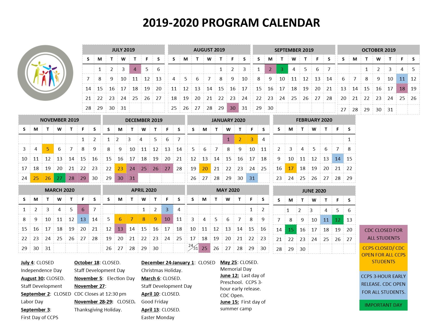 Program Calendar - Redeemer Lutheran Child Development Center in U Of M Calendar 2019-2020 School Year