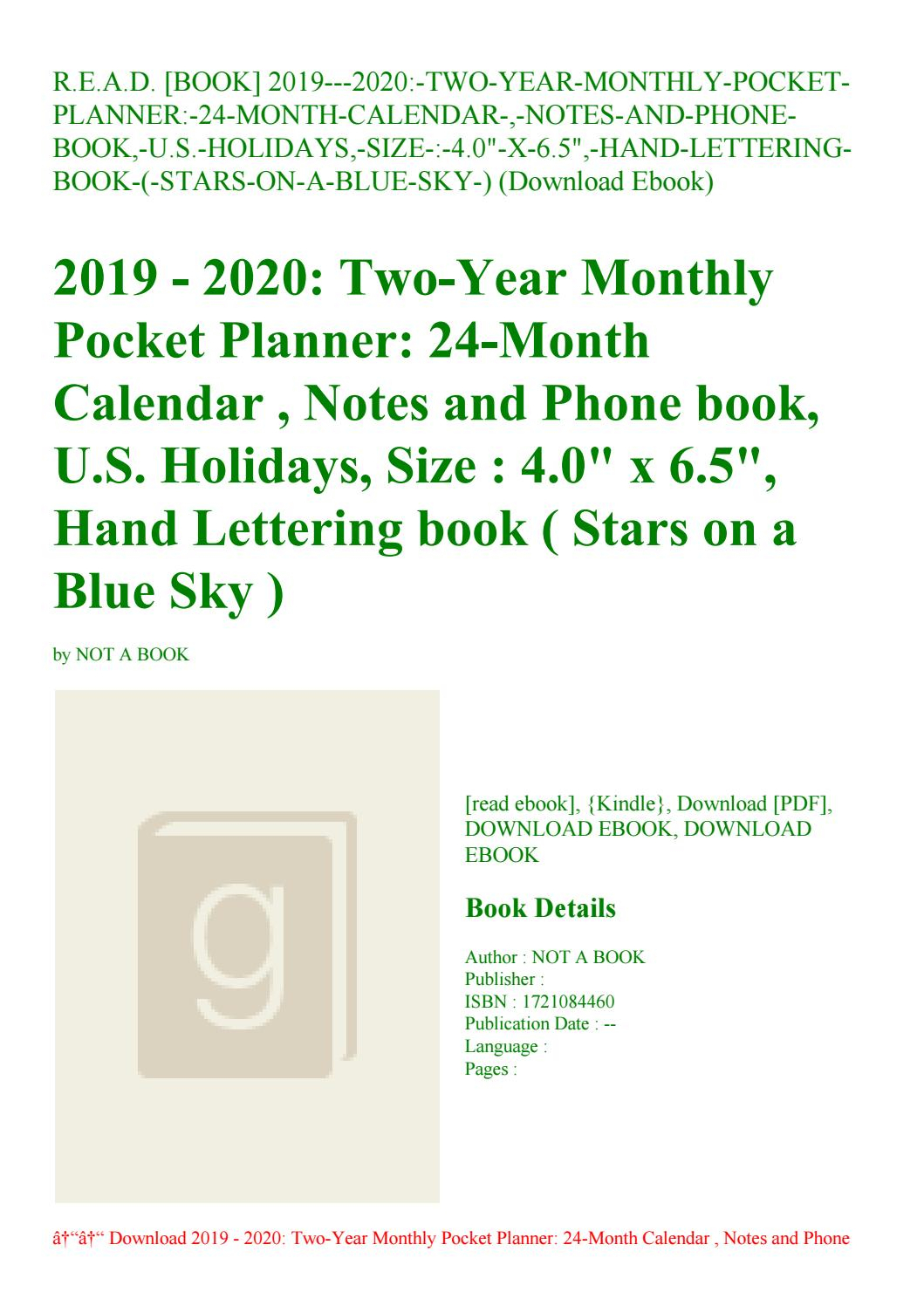 R.e.a.d. [Book] 2019---2020-Two-Year-Monthly-Pocket-Planner-24-Month intended for U Of R 2020 Calendar