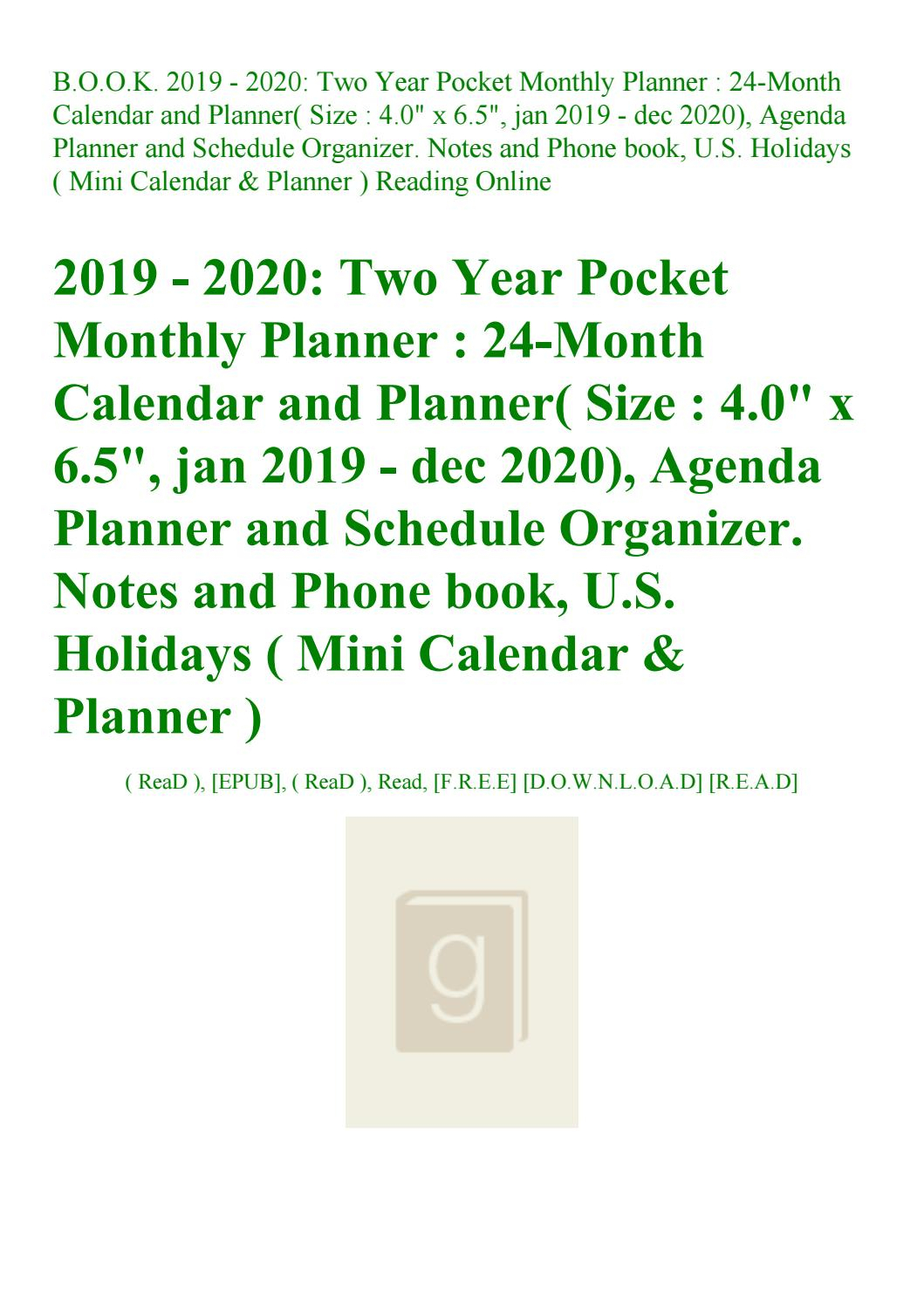Read B.o.o.k. 2019 - 2020 Two Year Pocket Monthly Planner 24-Month intended for U Of R 2020 Calendar
