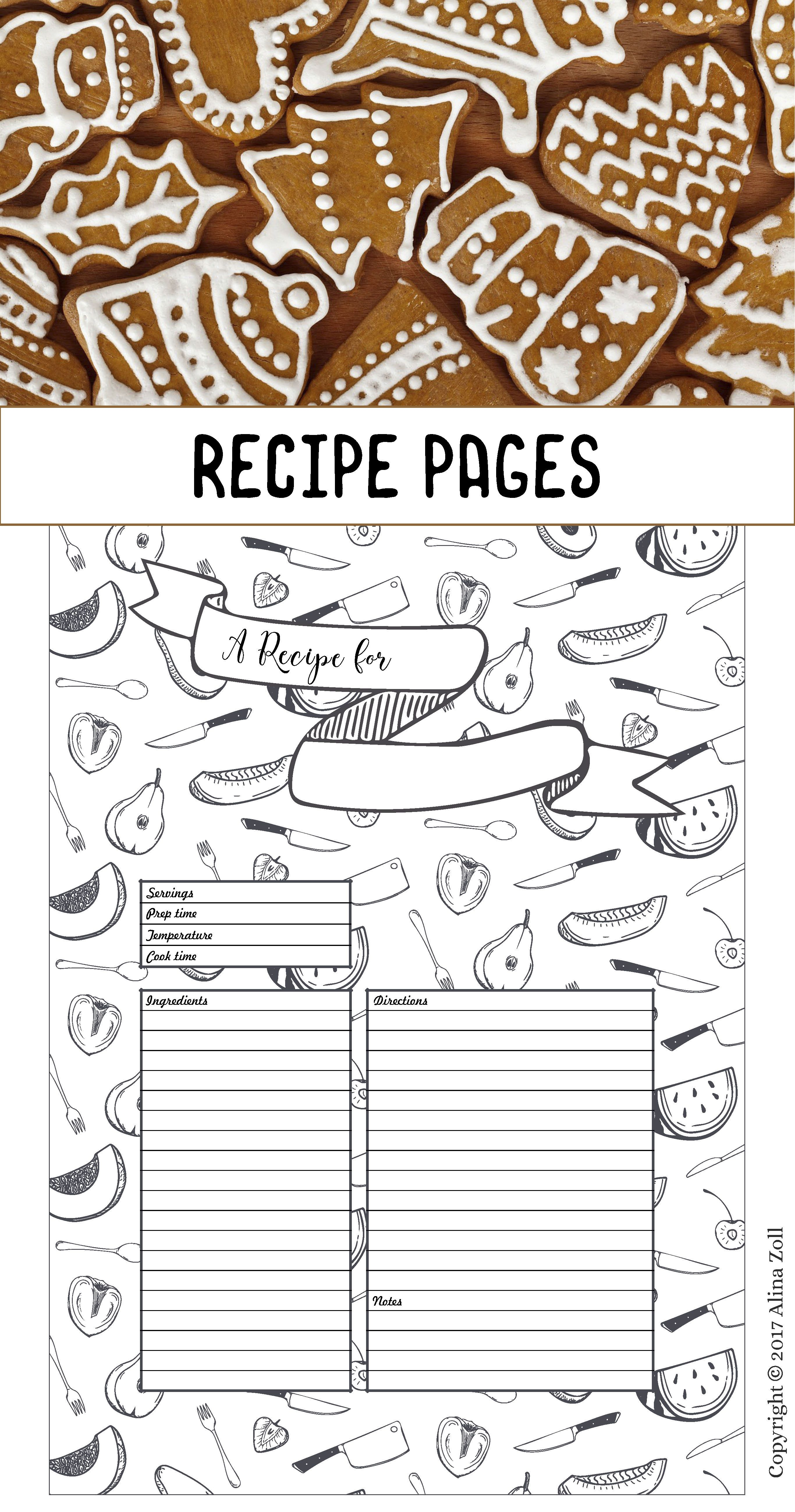 Recipe Template Printable, 10 Recipe Pages, Blank Recipe Book Pdf in 10 X 8 Planner Template