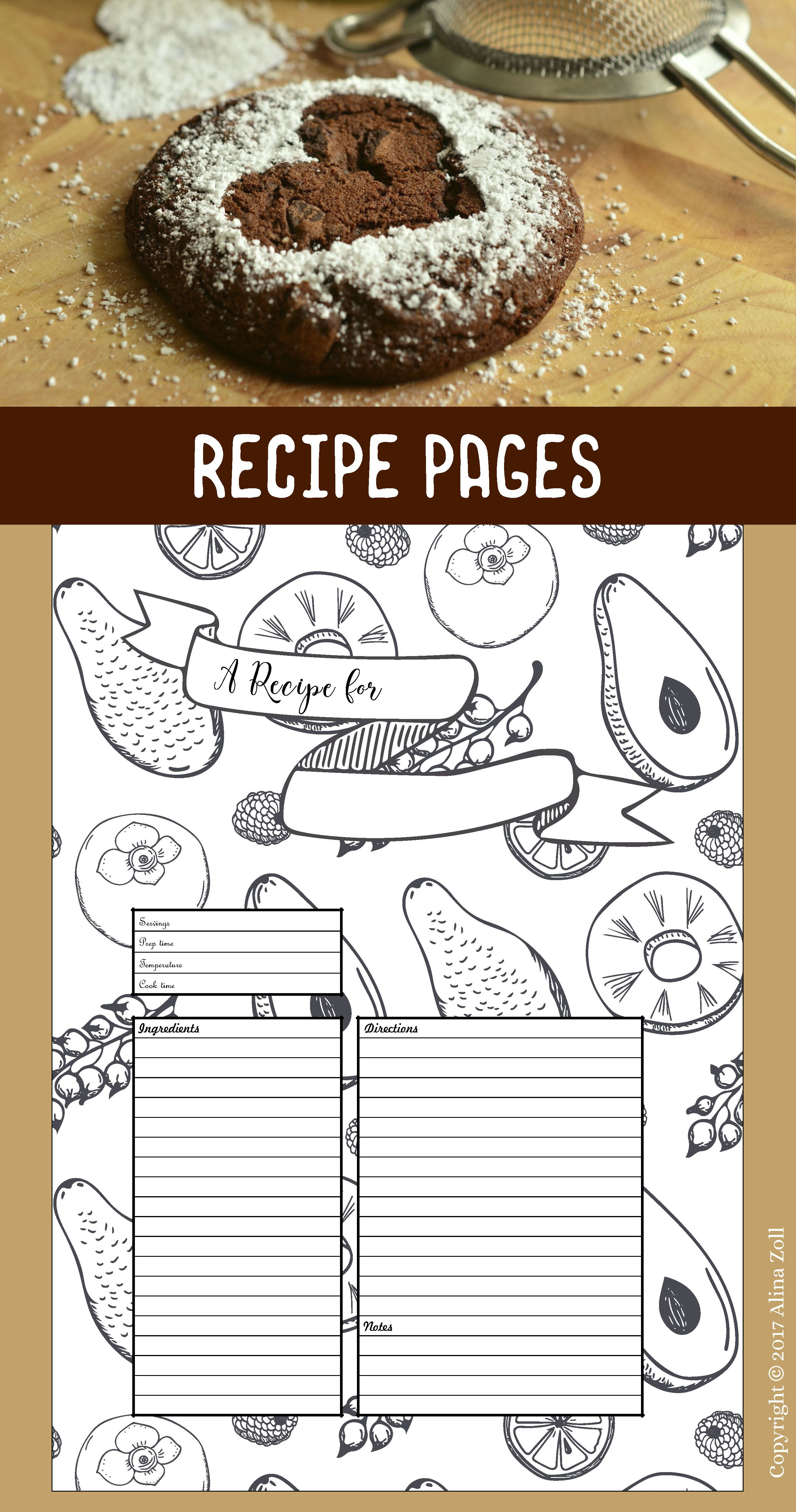 Recipe Template Printable, 10 Recipe Pages, Blank Recipe Book Pdf with regard to 10 X 8 Planner Template