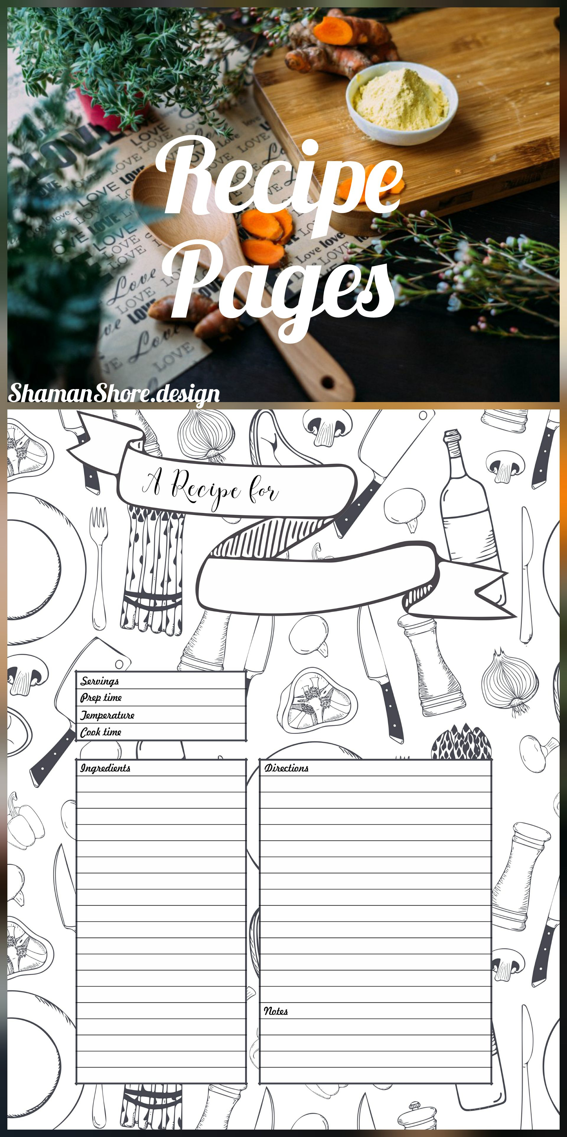 Recipe Template Printable, 10 Recipe Pages, Blank Recipe Book Pdf within 10 X 8 Planner Template