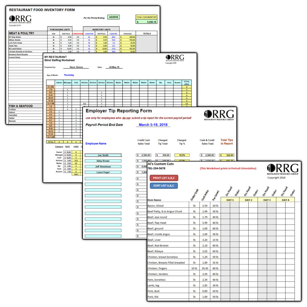 Restaurant Operations & Management Spreadsheet Library (20) inside 3 Day Shift Restaurant Template Sheets Excel