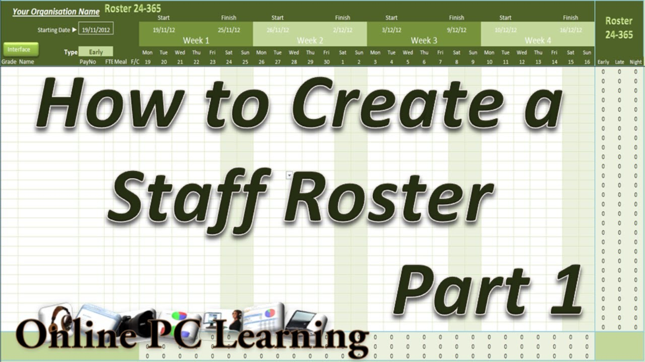 Roster - How To Create A Roster Template Part 1 - Roster Tutorial regarding 3 Day Shift Restaurant Template Sheets Excel
