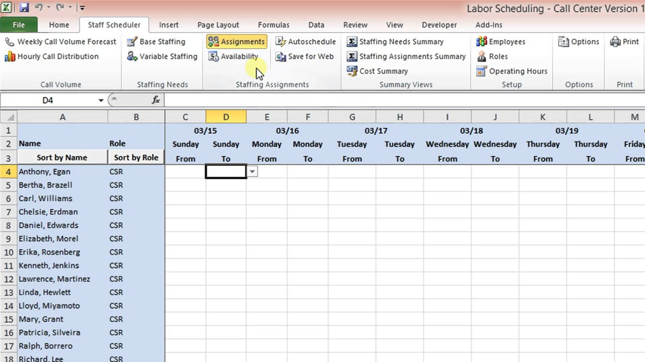 Schedule Mplate Labor Scheduling For Excel Call Center Version for 3 Day Shift Restaurant Template Sheets Excel