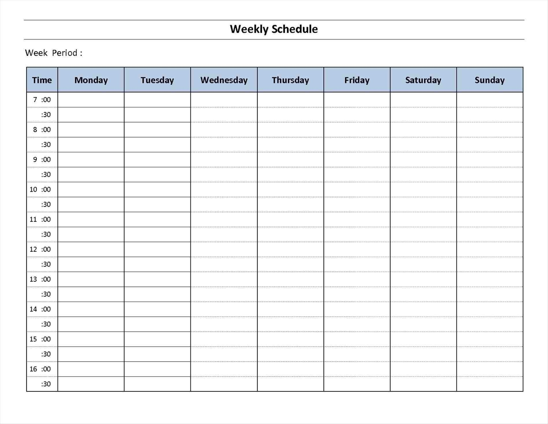 Schedule Template Day Week Calendar Printable Blank | Smorad throughout Free Printable Template For Day Of The Week Schedule