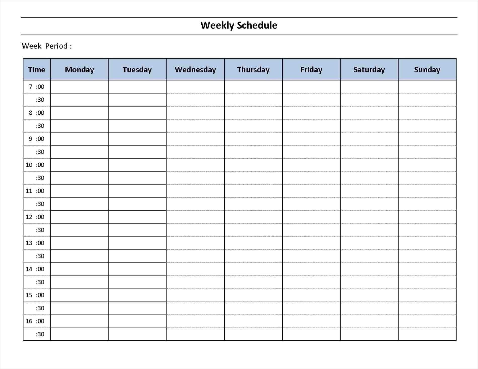 Schedule Template Day Week Calendar Printable Blank | Smorad with 7 Day Week Calendar Template