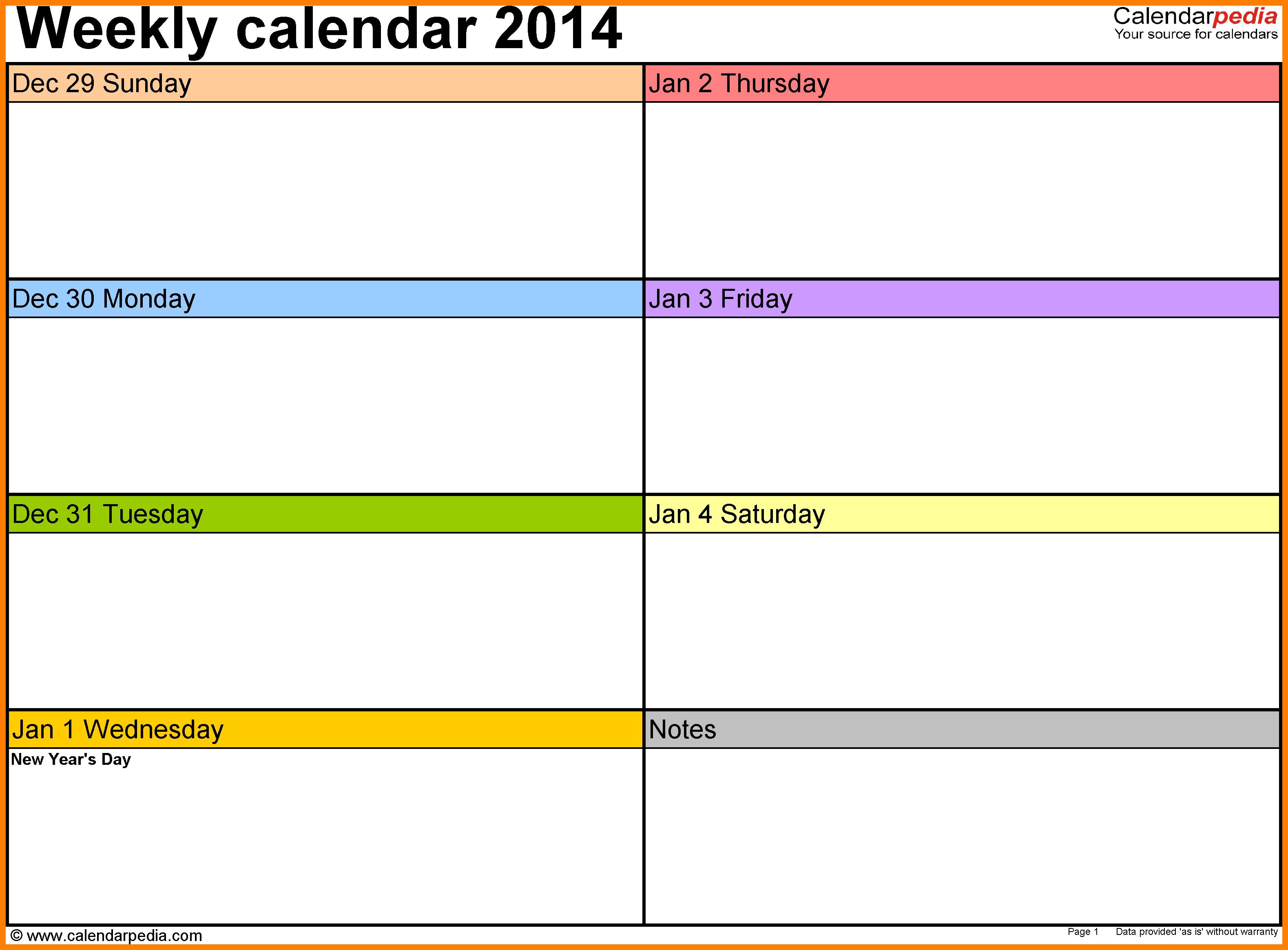 Schedule Template Free Printable Blank Weekly Calendar St in Blank 4 Week Calendar Printable