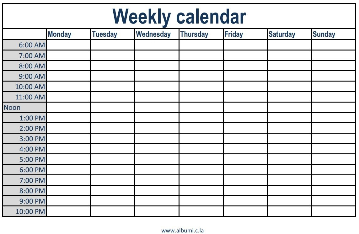 Schedule Template Free Printable Weekly Lendar With Times Time Slots in Free Calendar With Time Slots Template