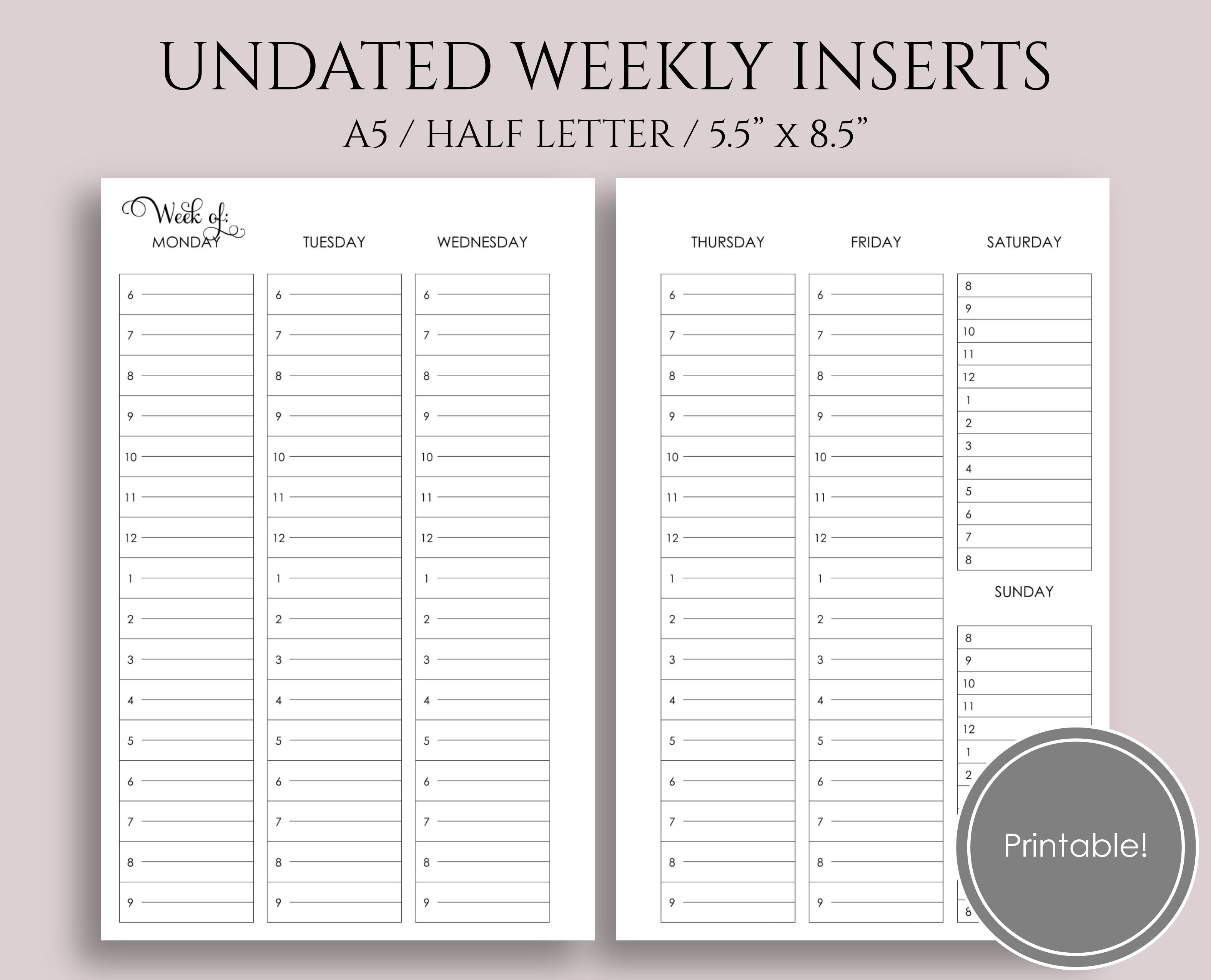 Schedule Template Free Vertical Weekly Printable With Ourly Columns with 10 X 8 Planner Template