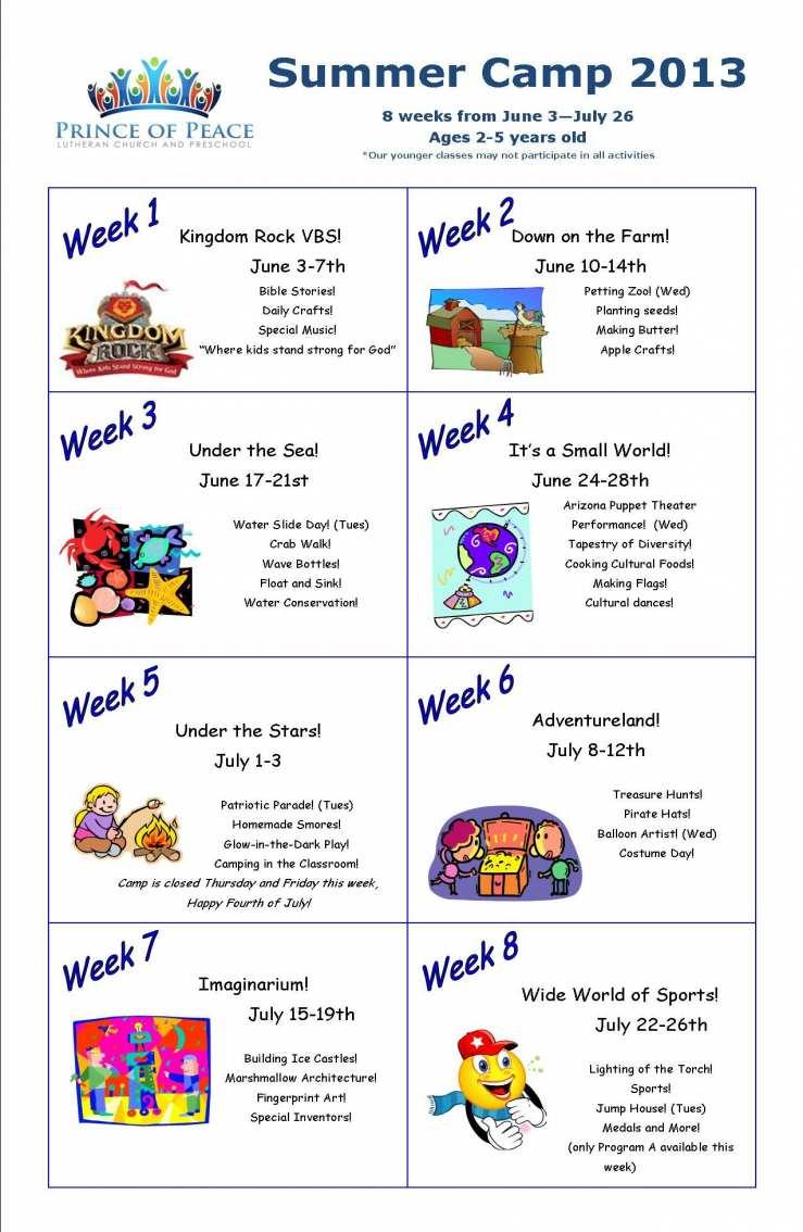 Schedule Template Summer Daily Camp Planner Calendar | Smorad in Summer Activity Calendar Template