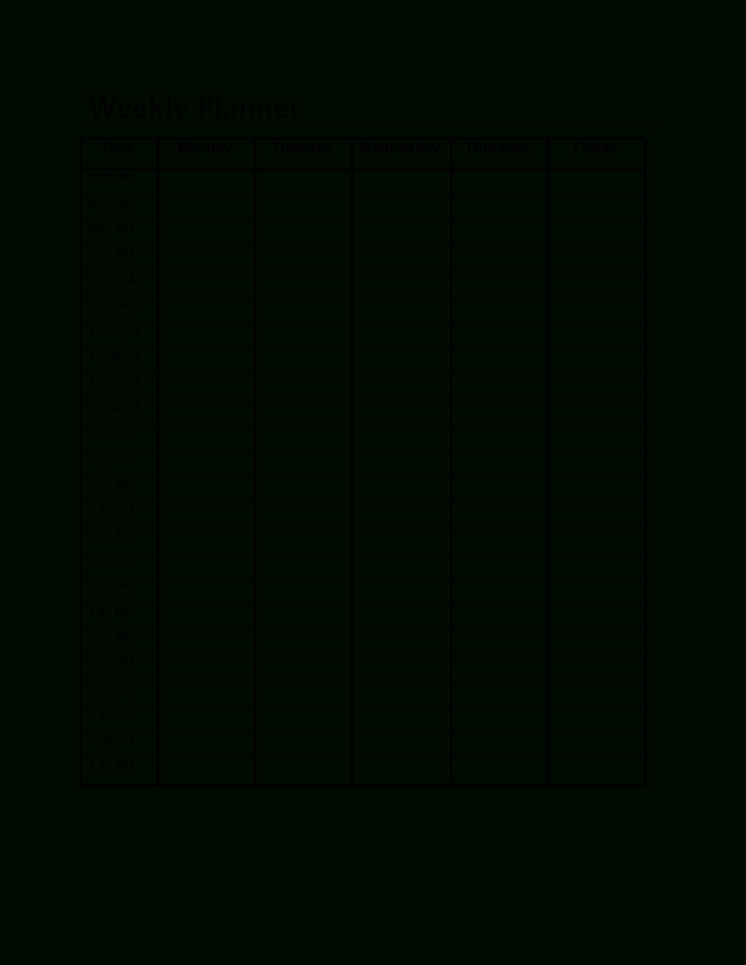Schedule Template Week Planner Sheet Weekly Google Sheets Printable in Blank Weekly Am/pm Schedule Template