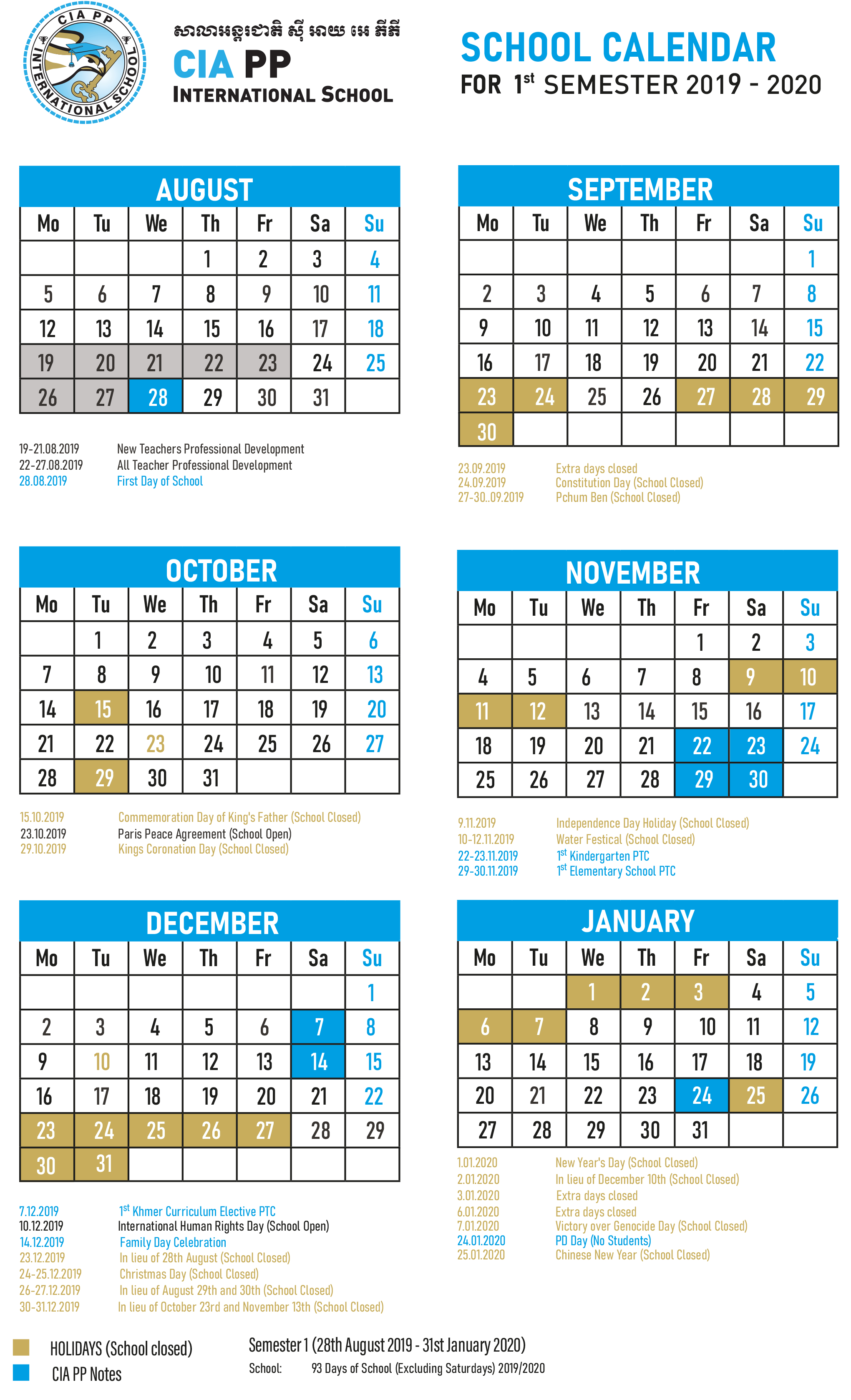 School Calendar - for Six Nations School Caldendar 2019-2020