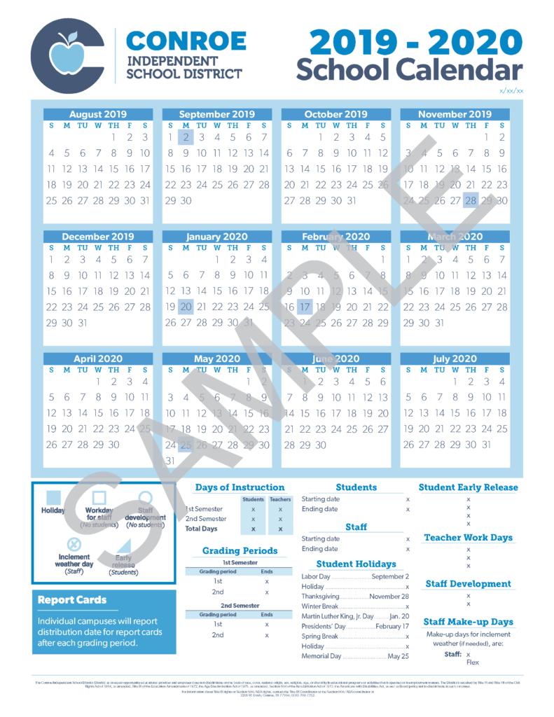 School Calendar Process - Conroe Isd within 5 School Day Calendar Blank