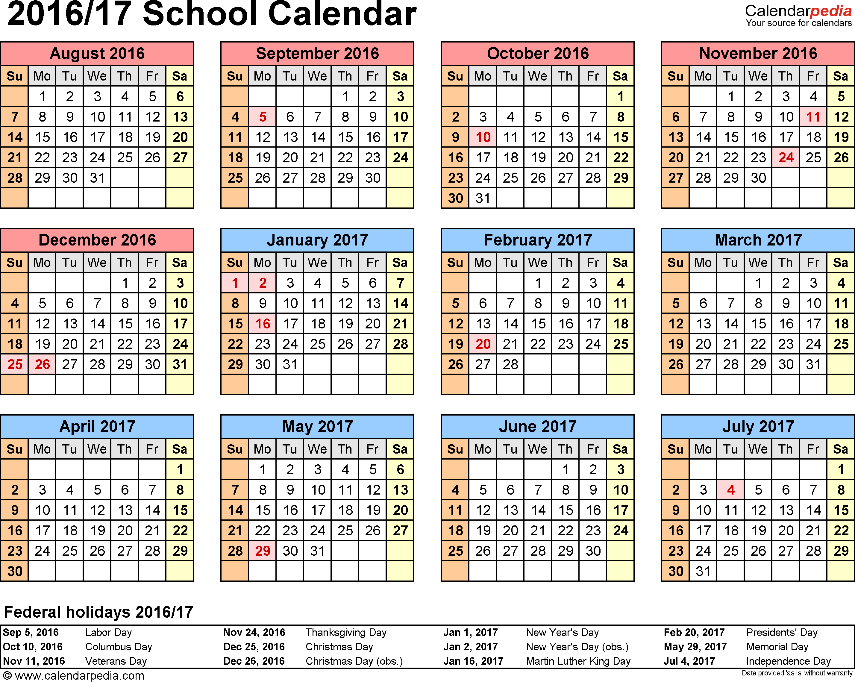 School Calendars 2016/2017 As Free Printable Excel Templates inside 18 School Calendar Template