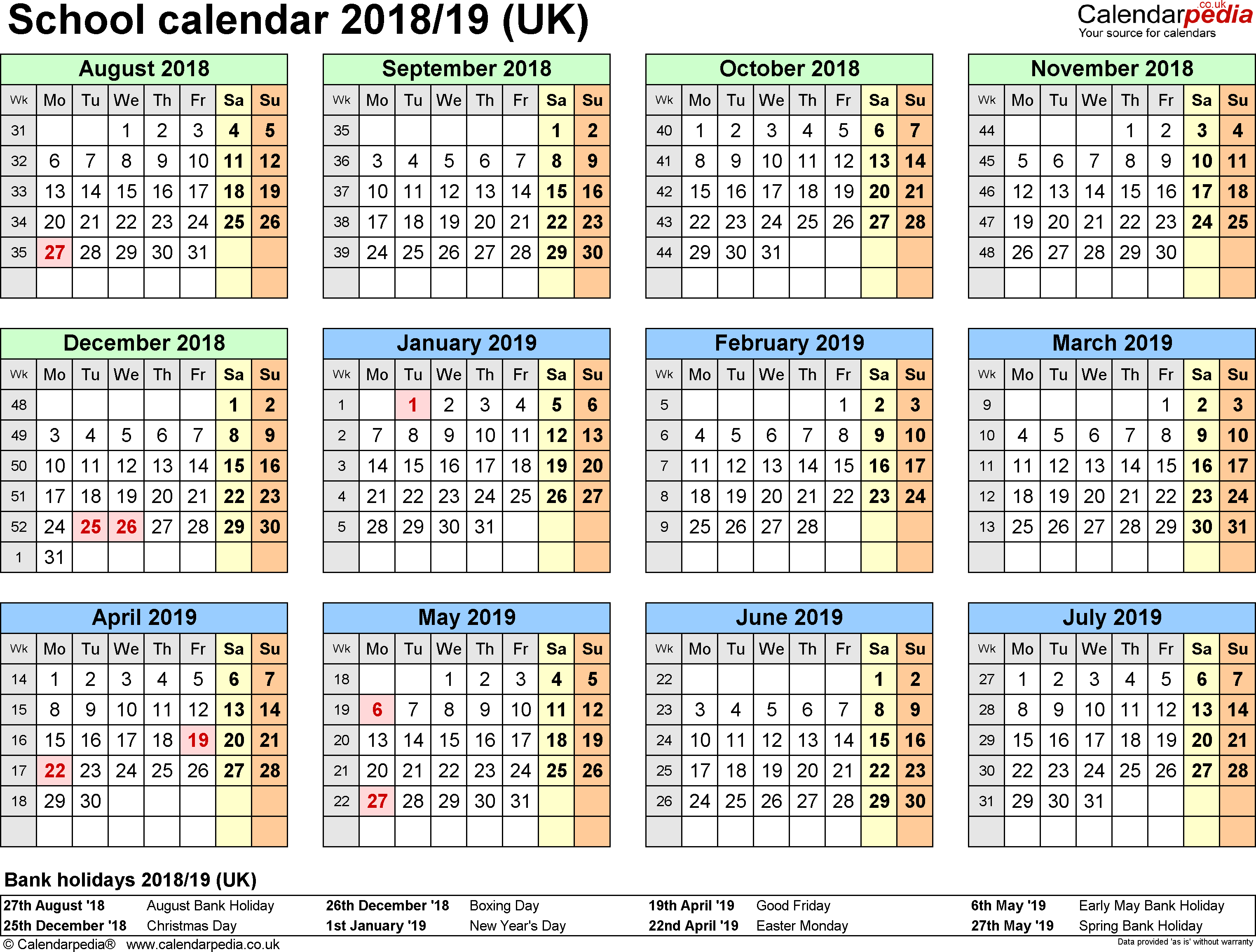 School Calendars 2018/2019 As Free Printable Excel Templates inside Holiday Chart Templates Uk