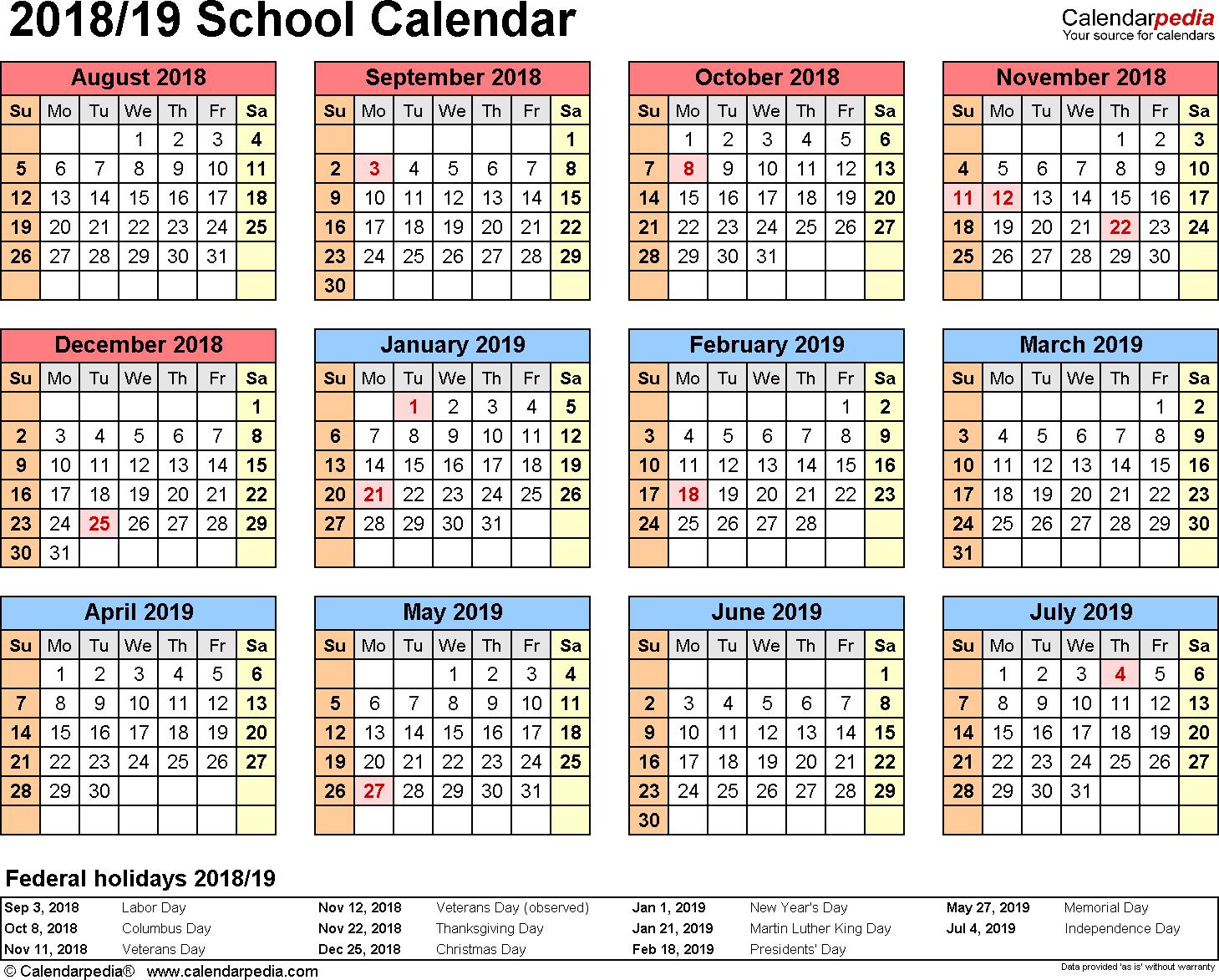 School Calendars 2018/2019 As Free Printable Word Templates regarding Free School Year At A Glance 2019-2020