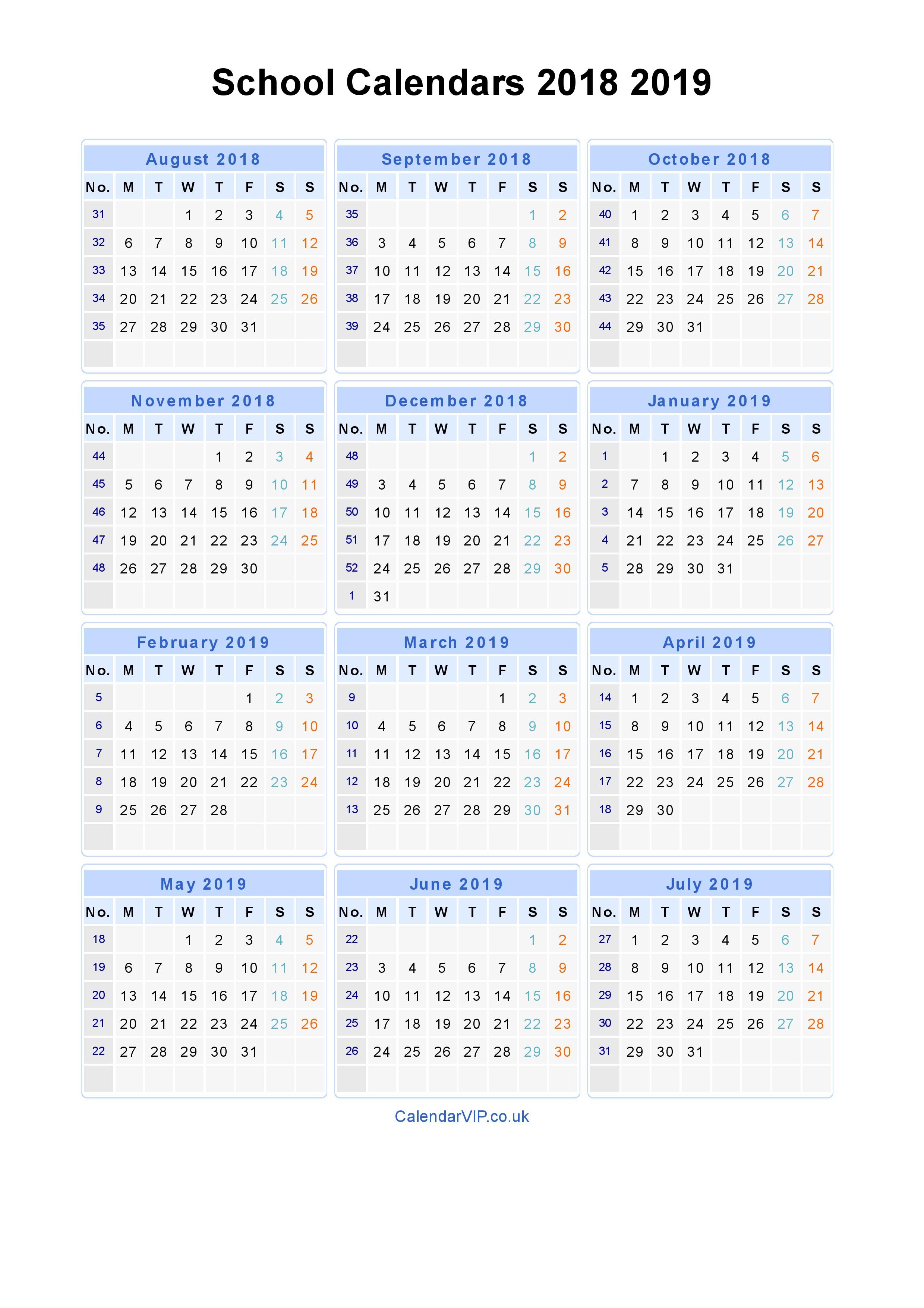 School Calendars 2018 2019 - Calendar From August 2018 To July 2019 inside Calendar Blank Planner Months 18 School Year