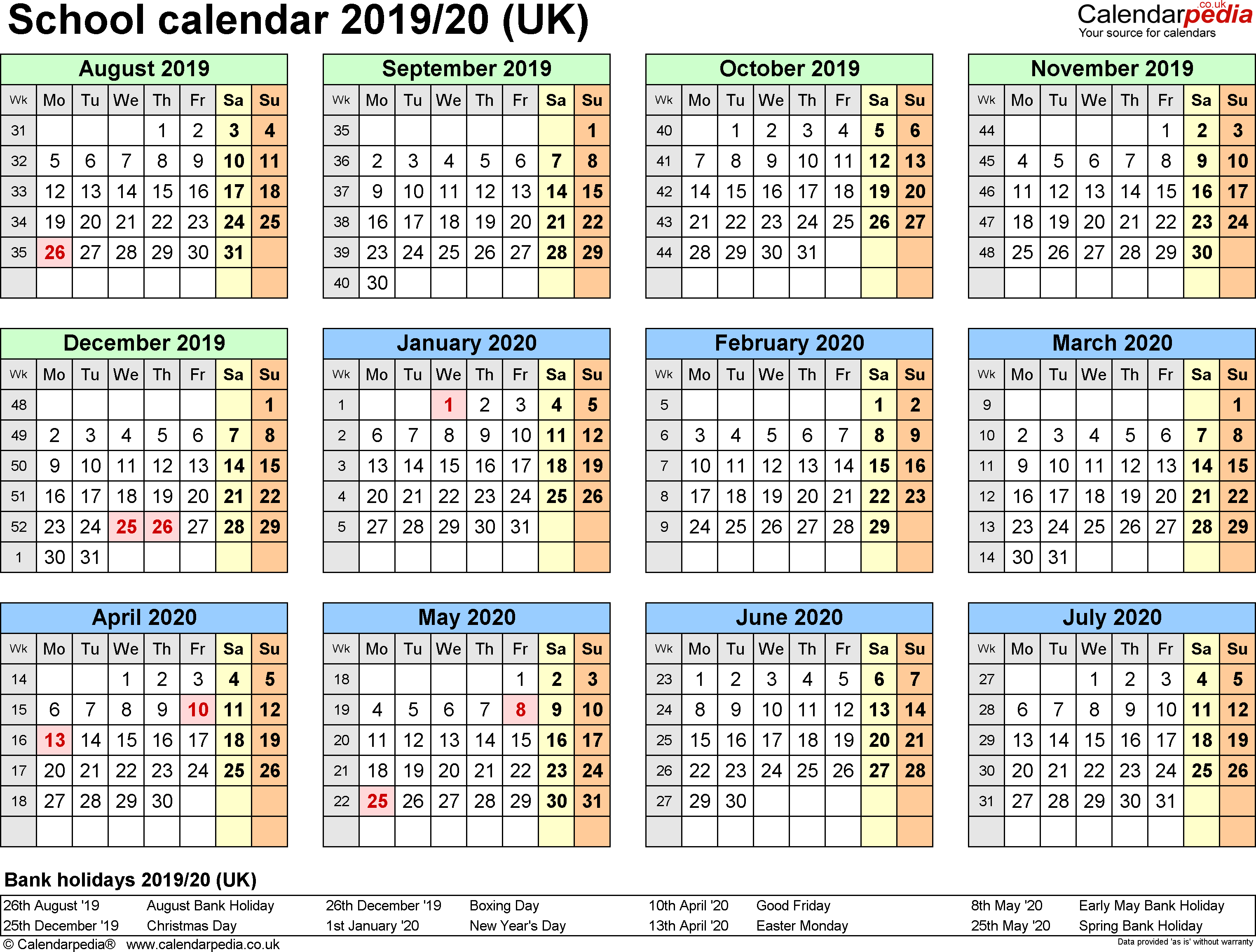 School Calendars 2019/2020 As Free Printable Pdf Templates throughout Free School Year At A Glance 2019-2020