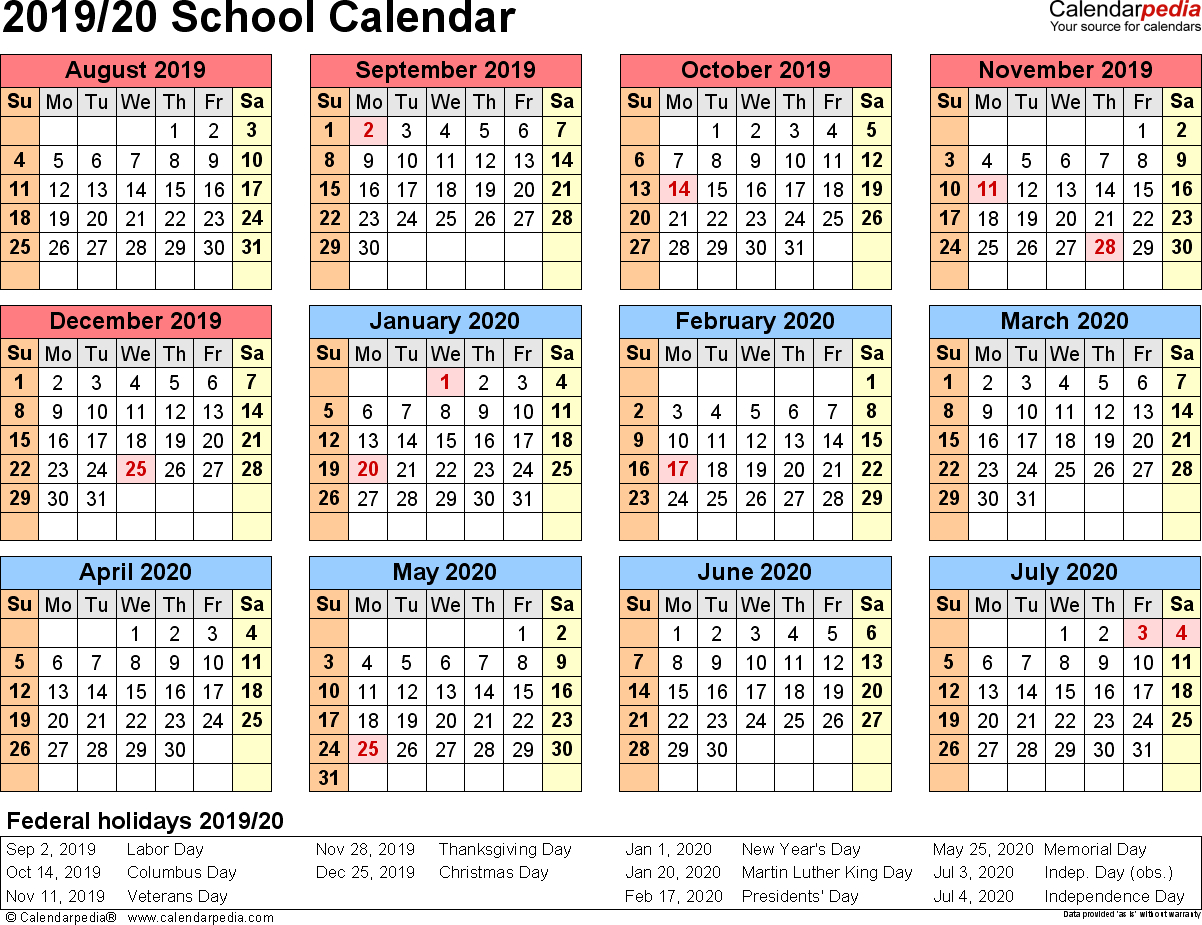 School Calendars 2019/2020 As Free Printable Pdf Templates with Printable Year At Glance Calendar For 2020