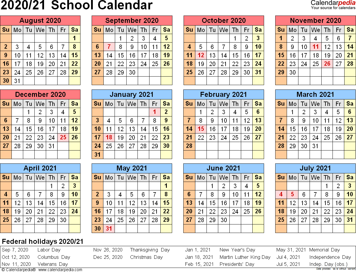 School Calendars 2020/2021 As Free Printable Word Templates with 2029 2020 Year At A Gllance Calendar