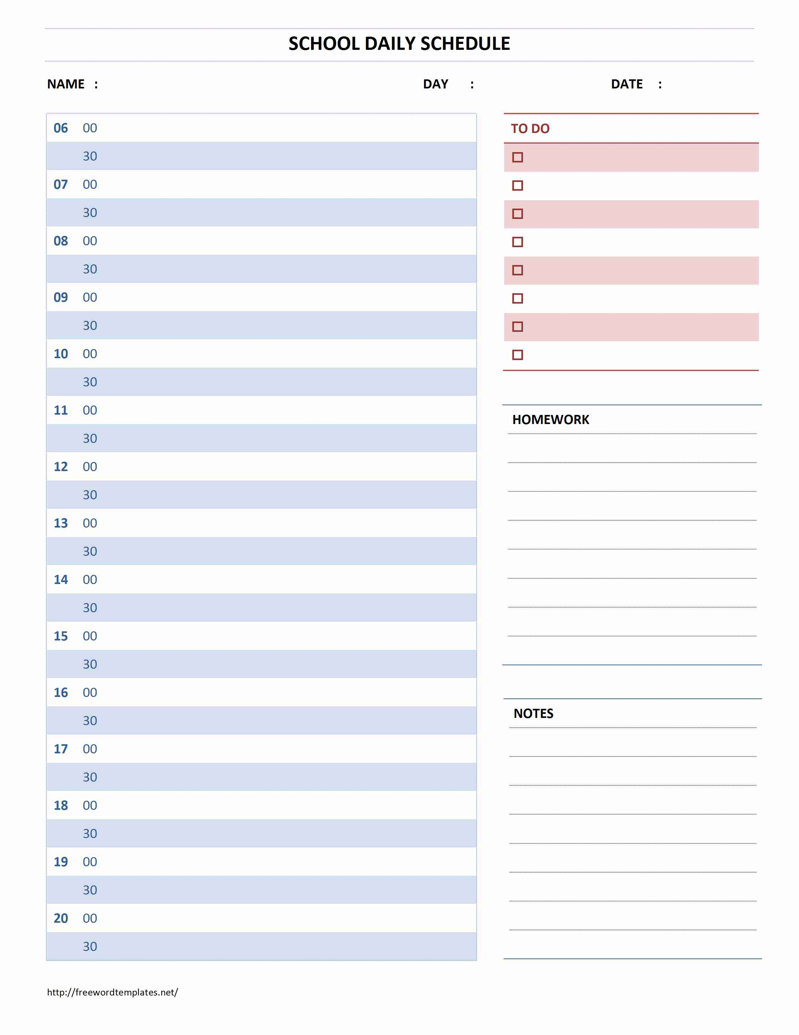 School Daily Schedule intended for 5 School Day Calendar Blank