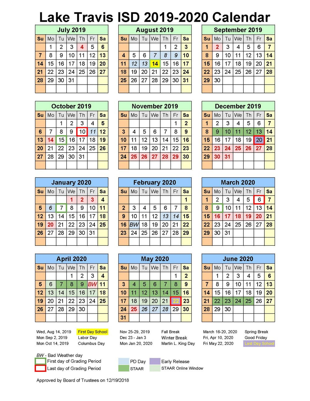 School Matters pertaining to Stephen F Austin Calendar 2019 - 2020