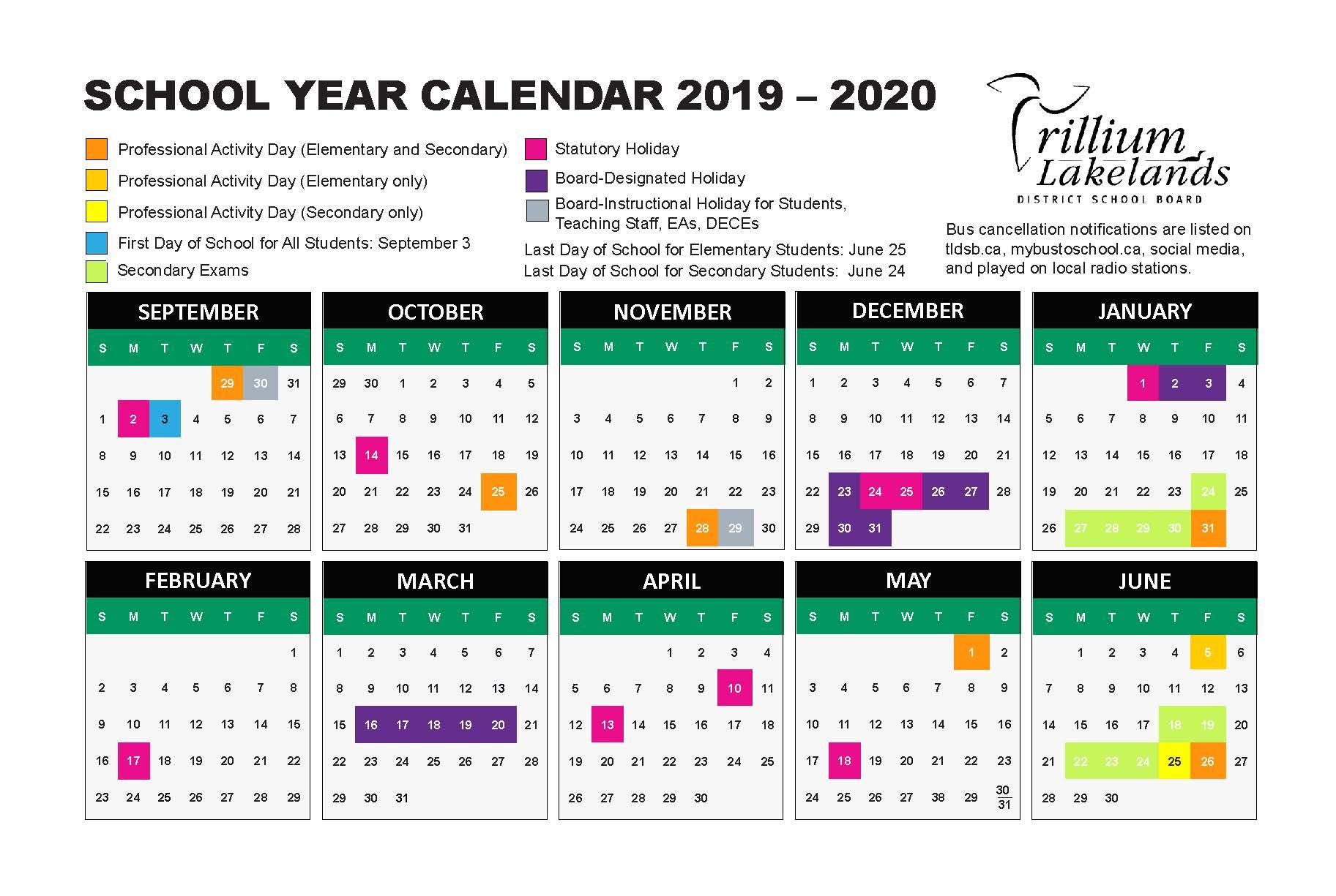 School Year Calendar – Trillium Lakelands District School Board regarding U Of R 2020 Calendar