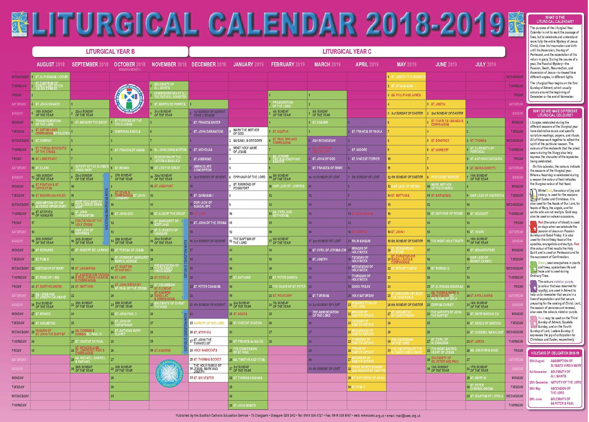 Scottish Catholic Education Service | Sces | Liturgical Calendar inside Catholic Liturgical Calendar 2020 Pdf