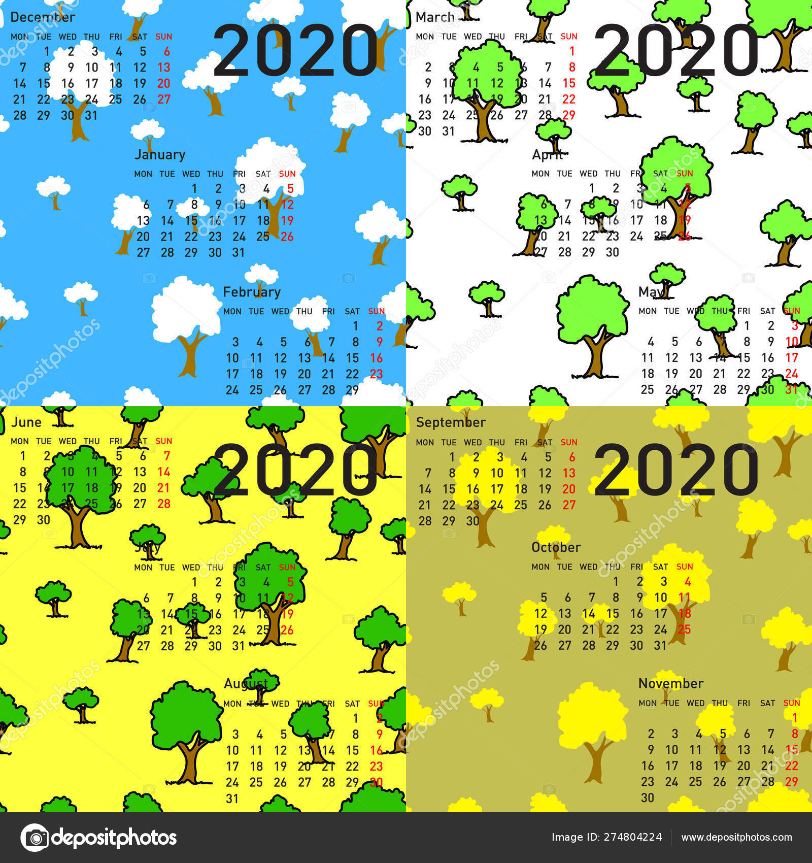 Seamless Wallpaper 2020 Calendar Days Of The Year — Векторное within Special Days Of The Year 2020