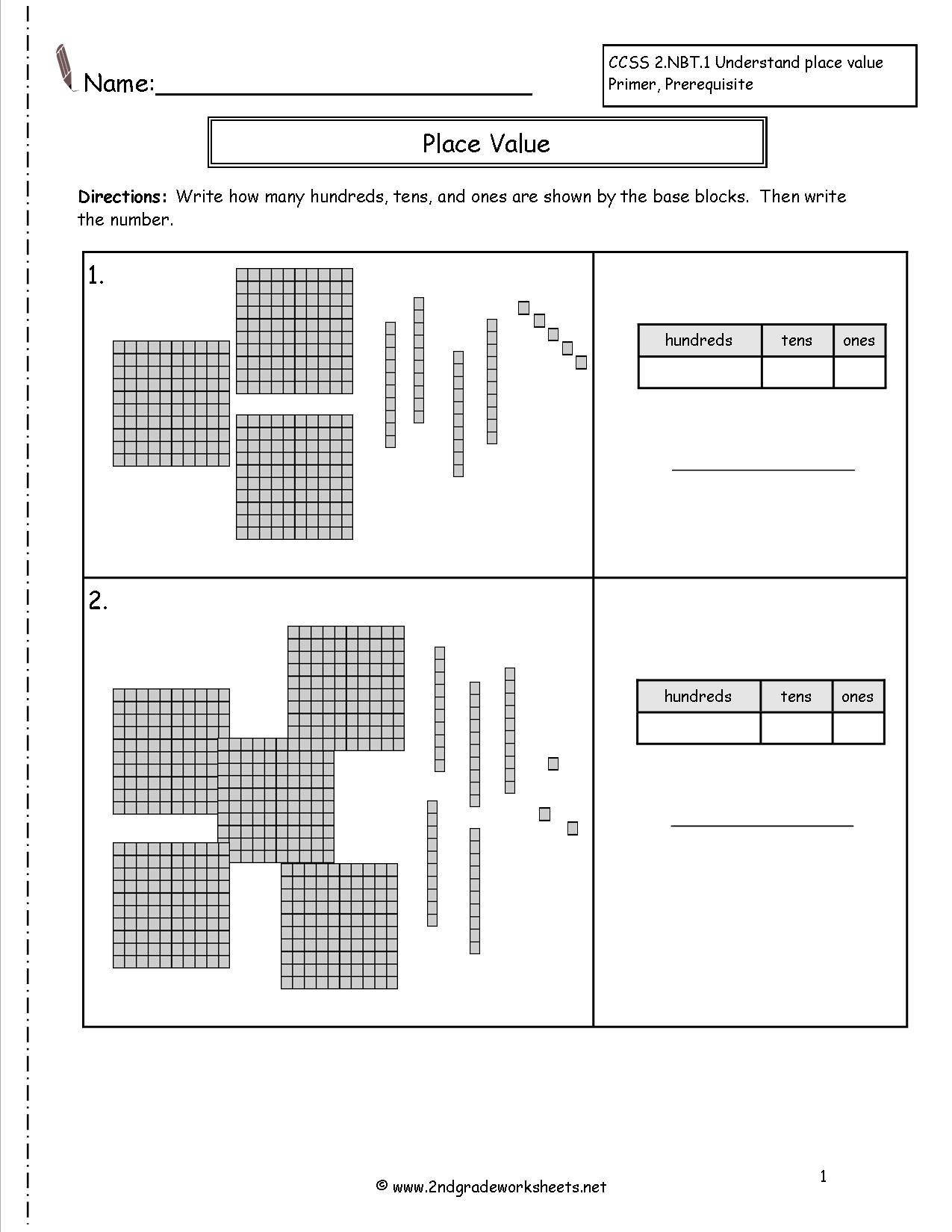 Second Grade Place Value Worksheets with regard to Number Ten Template For First Grade