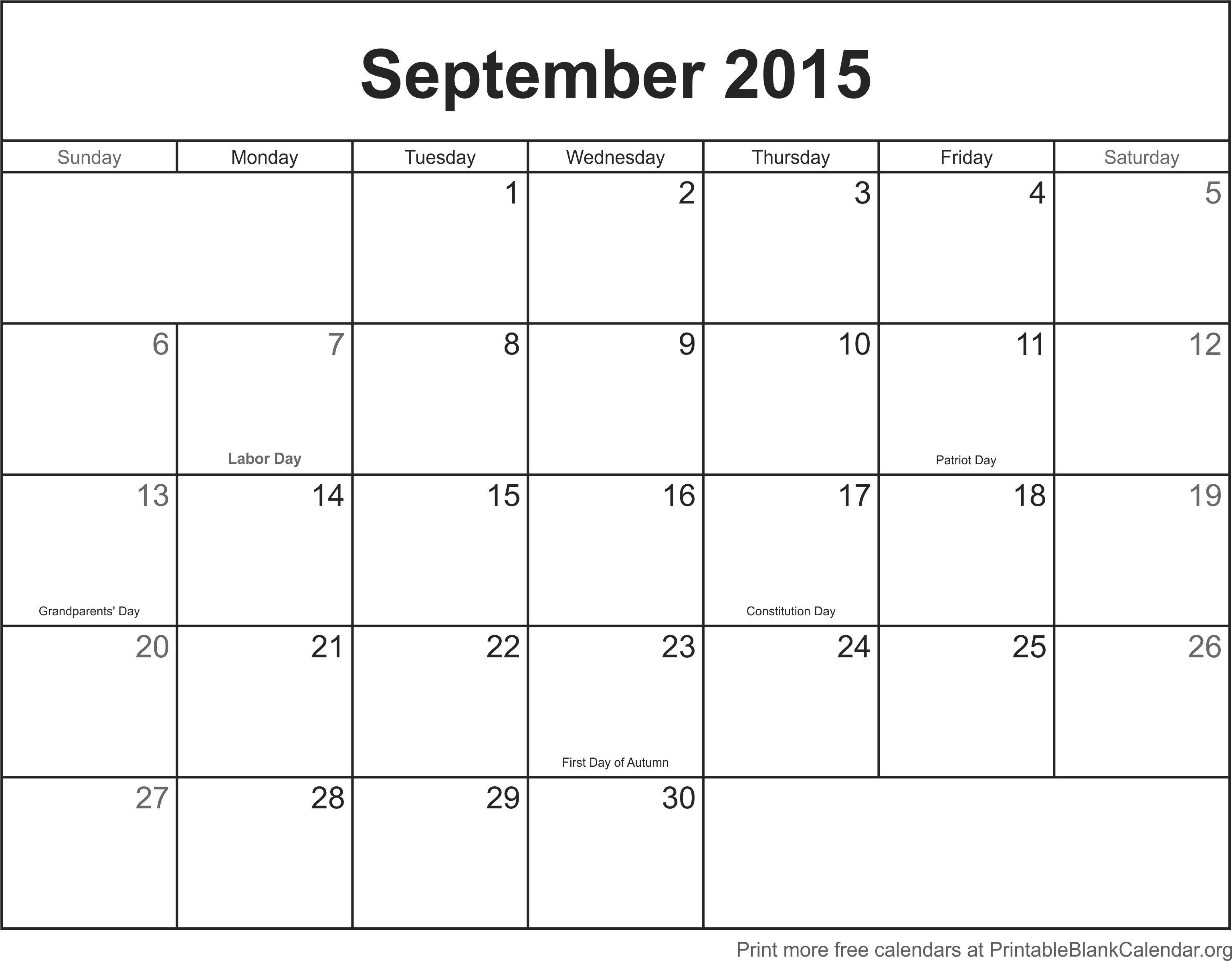 September 2015 Printable Calendar - Printable Blank Calendar intended for Printable Blank Calendar Pages For September