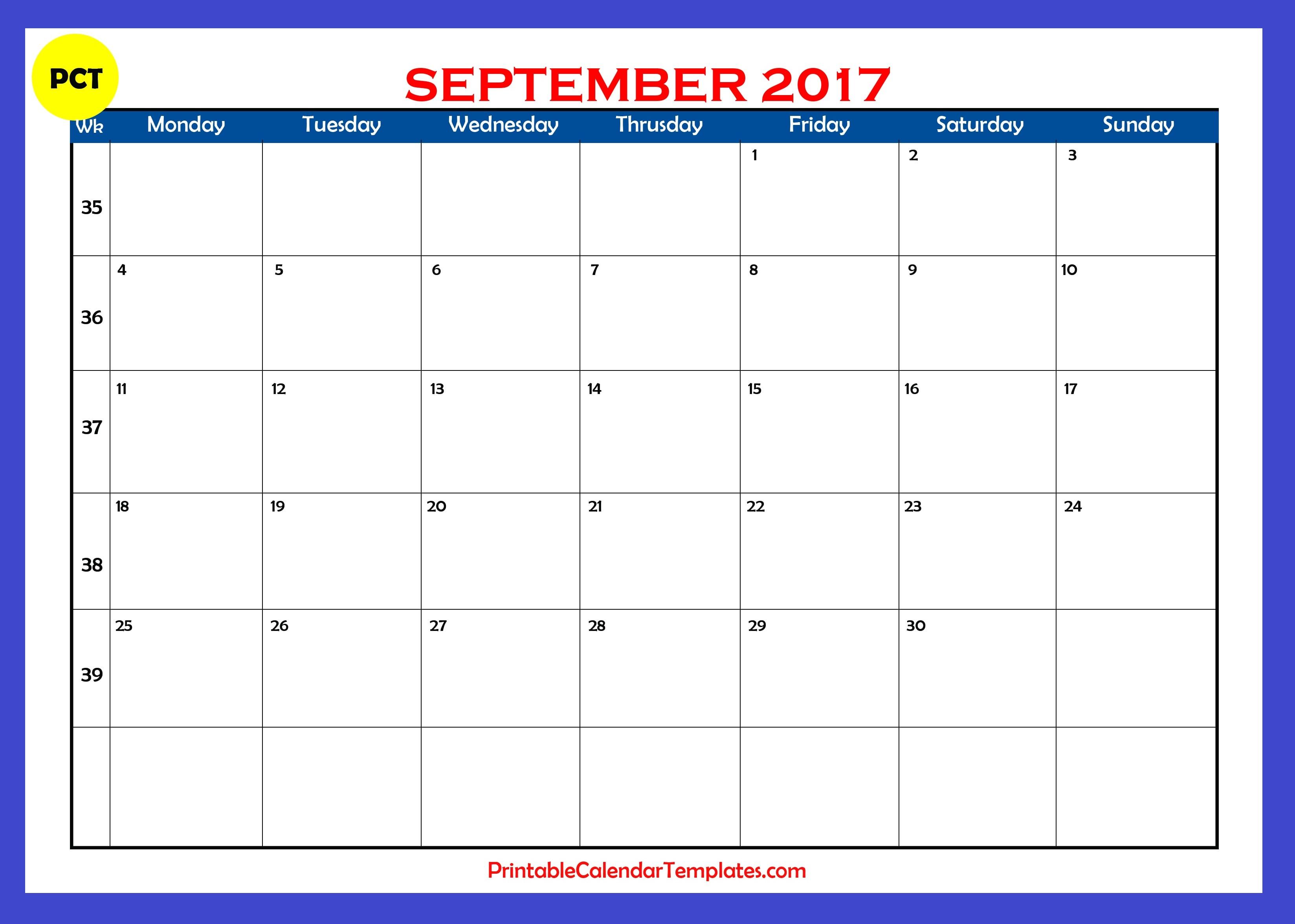 September-2017-Blank-Calendar-Pdf inside September Printable Monthly Calendars Blank
