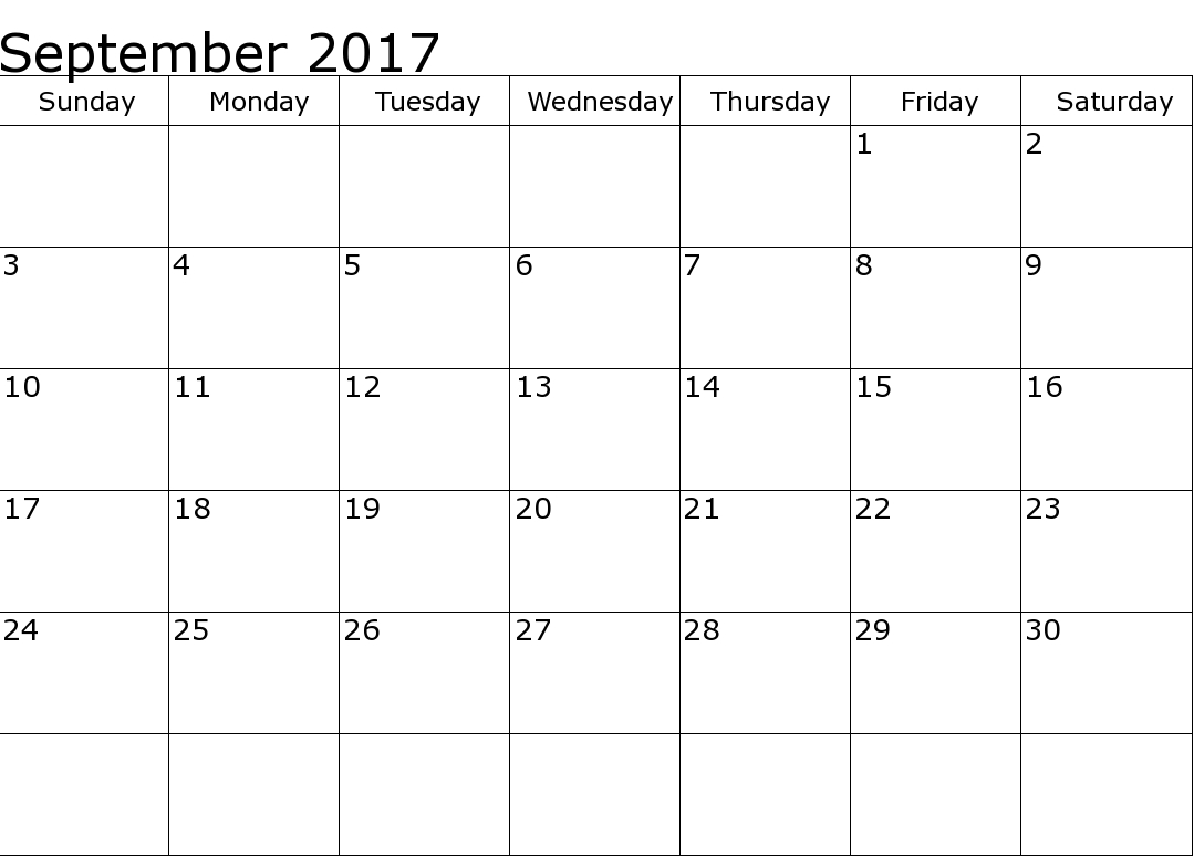 September 2017 Printable Calendar Template, Holidays, Excel & Word with Blank September Calendar Printable With Holidays