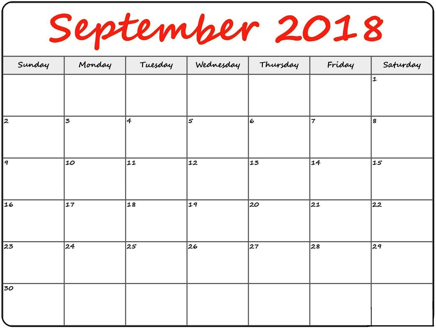 September 2018 Calendar Blank for Blank Printable September Calendar