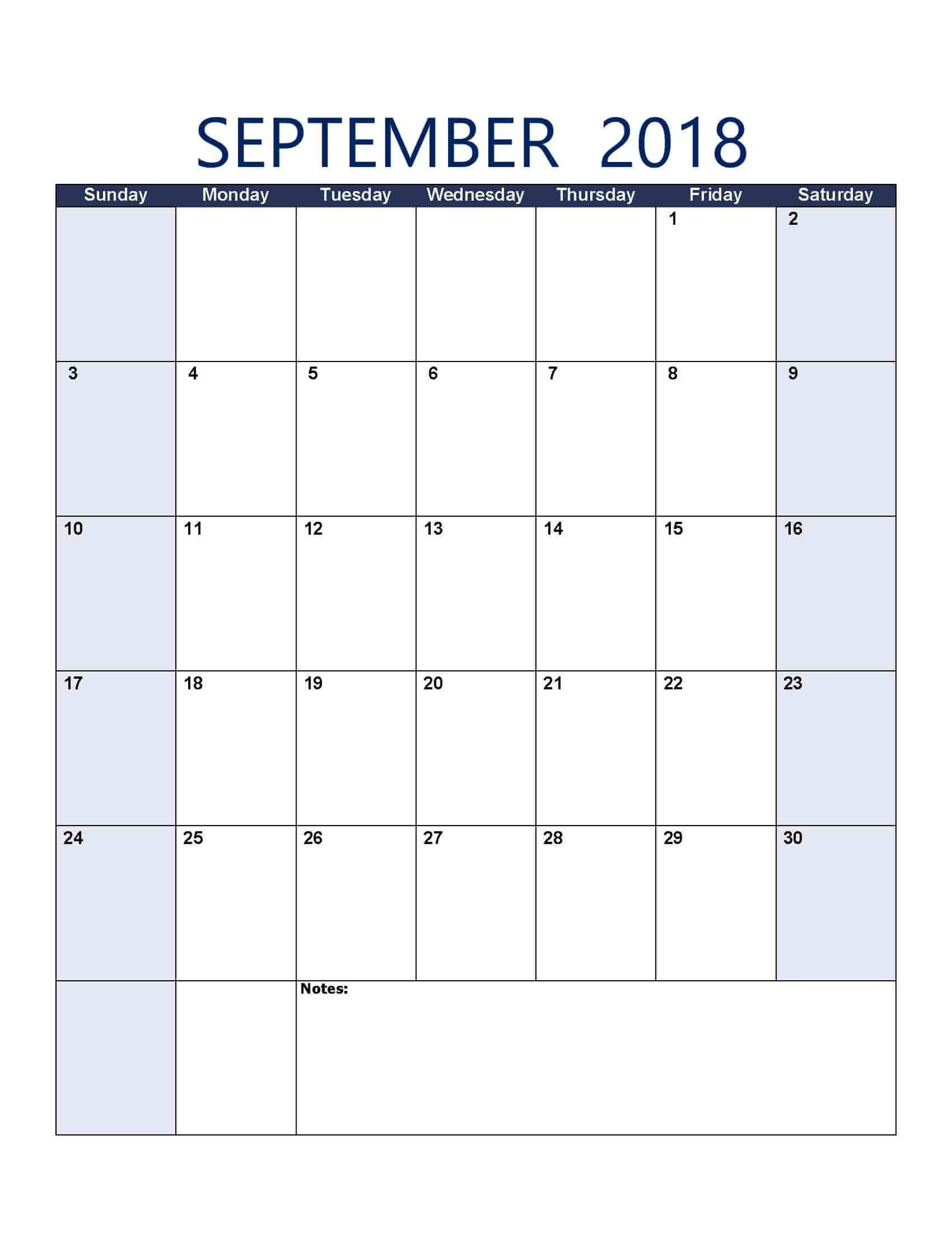 September 2018 Calendar - Free, Printable Calendar Templates for Free Printable September Blank Calendars With Christian Themes