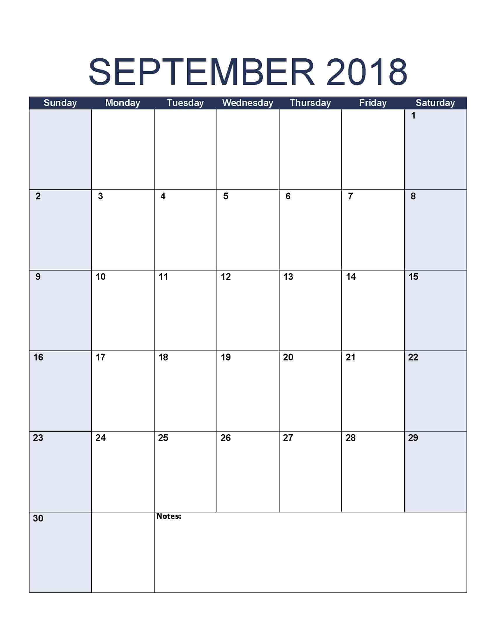 September 2018 Calendar - Free, Printable Calendar Templates in Free Printable Blank Calendar Templates