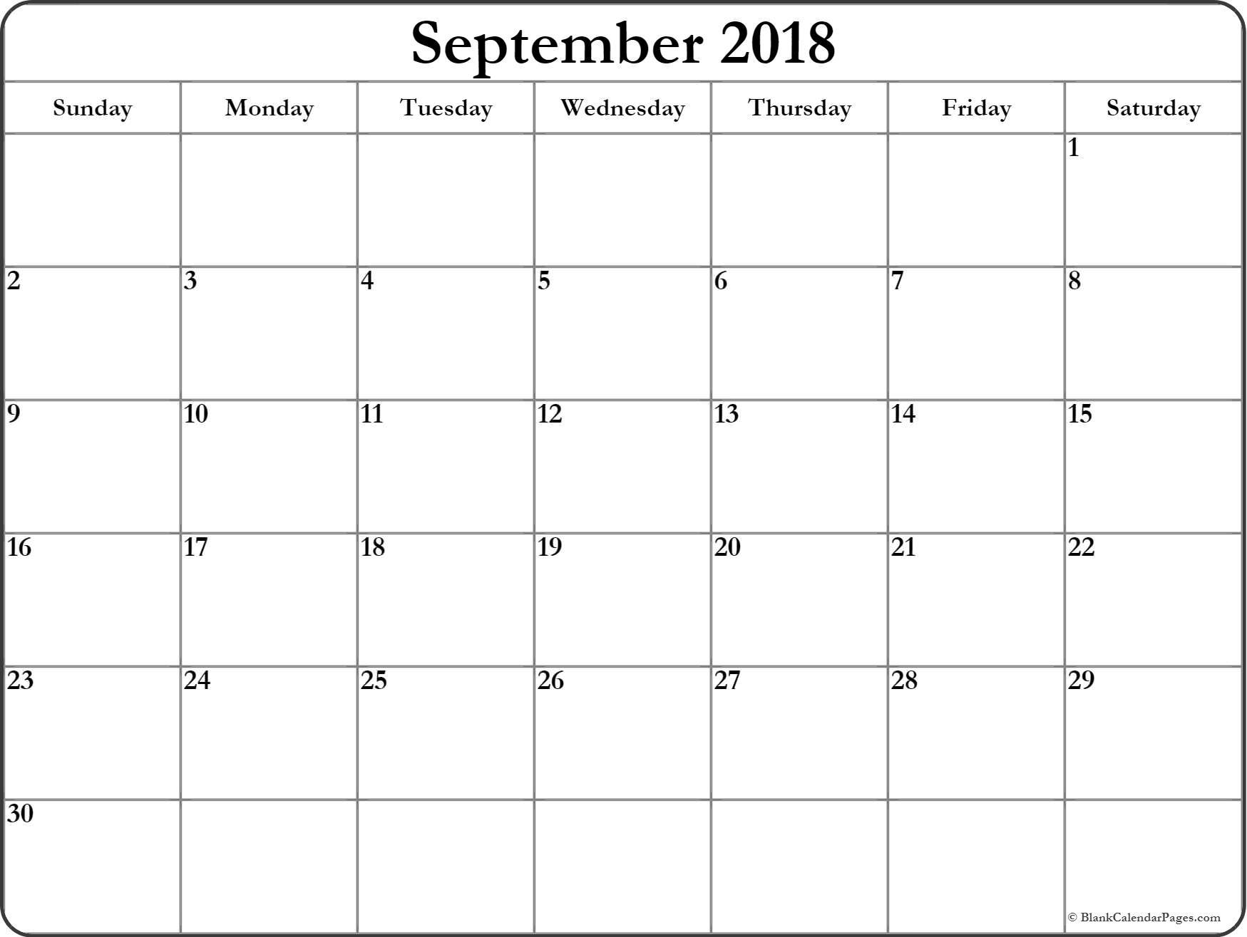 September 2018 Calendar | Free Printable Monthly Calendars throughout Blank Printable September Calendar