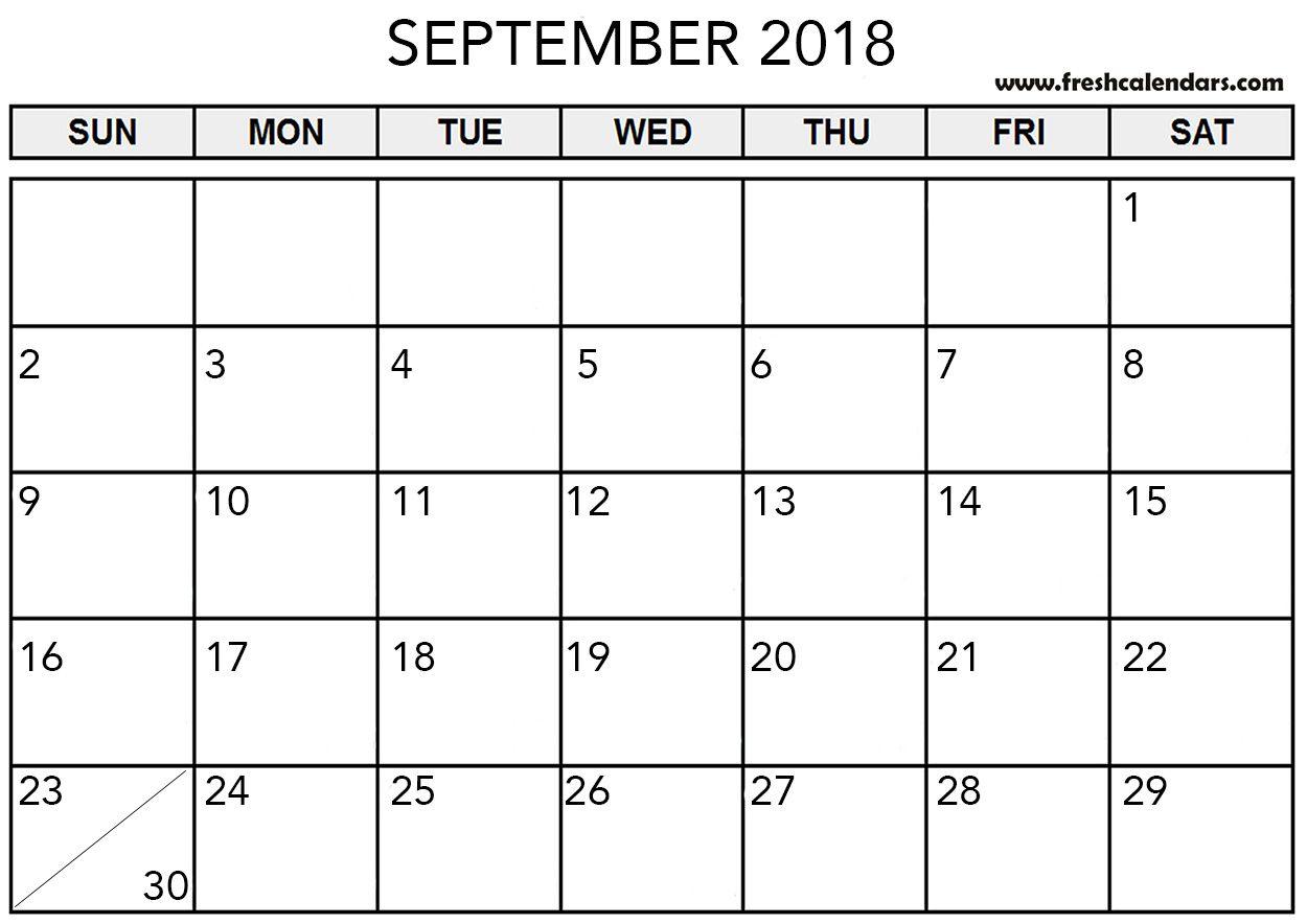 September 2018 Calendar Printable - Fresh Calendars pertaining to Blank September Calendar Printable With Holidays