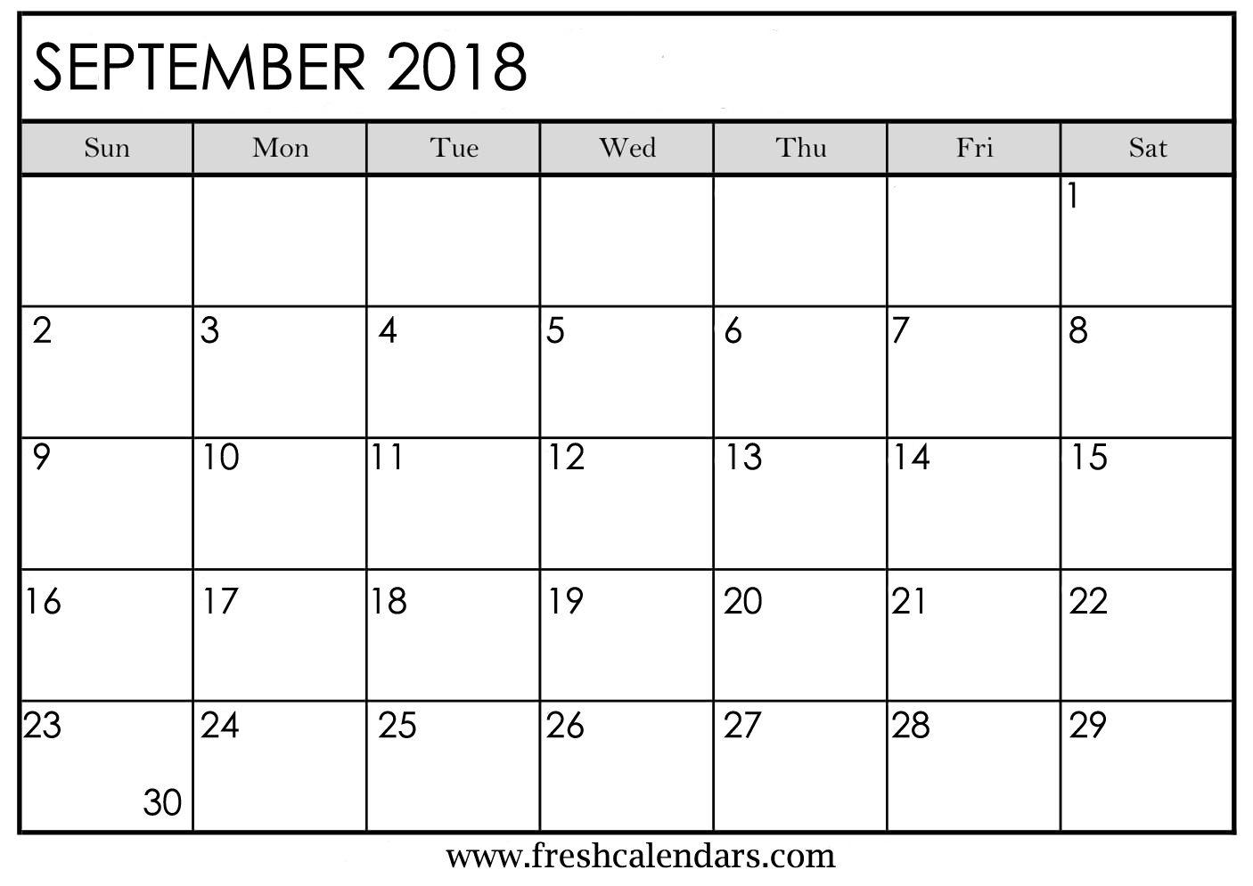 September 2018 Calendar Printable - Fresh Calendars throughout Blank Monthly Calendar September
