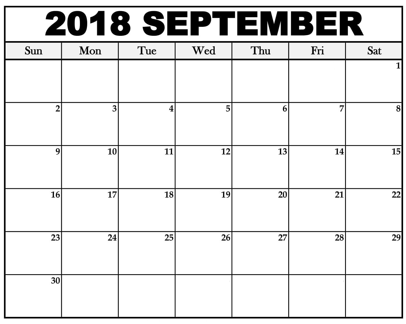 September 2018 Calendar Printable Template   September 2018 Calendar for September Calendar Printable Template
